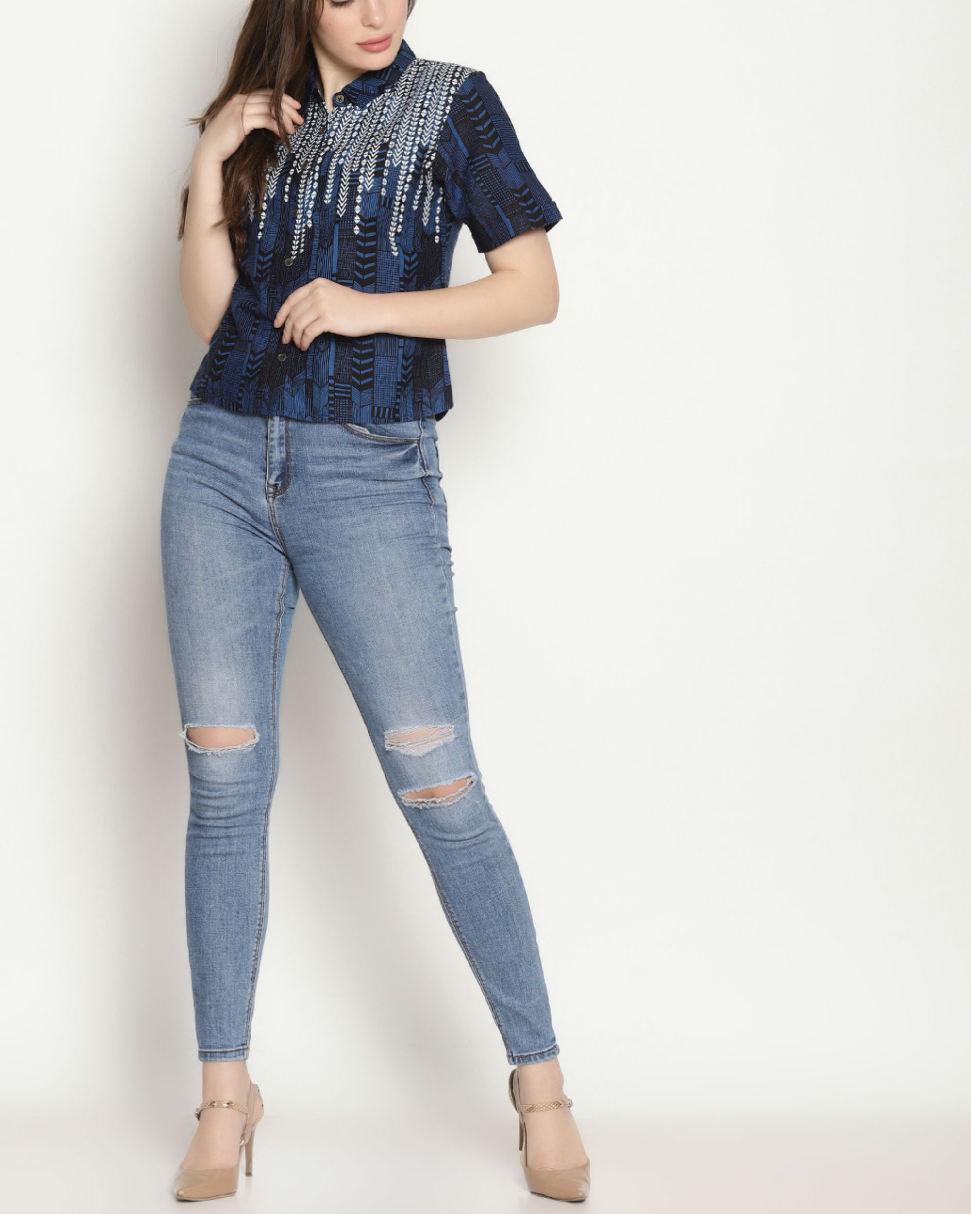 Blue block print top