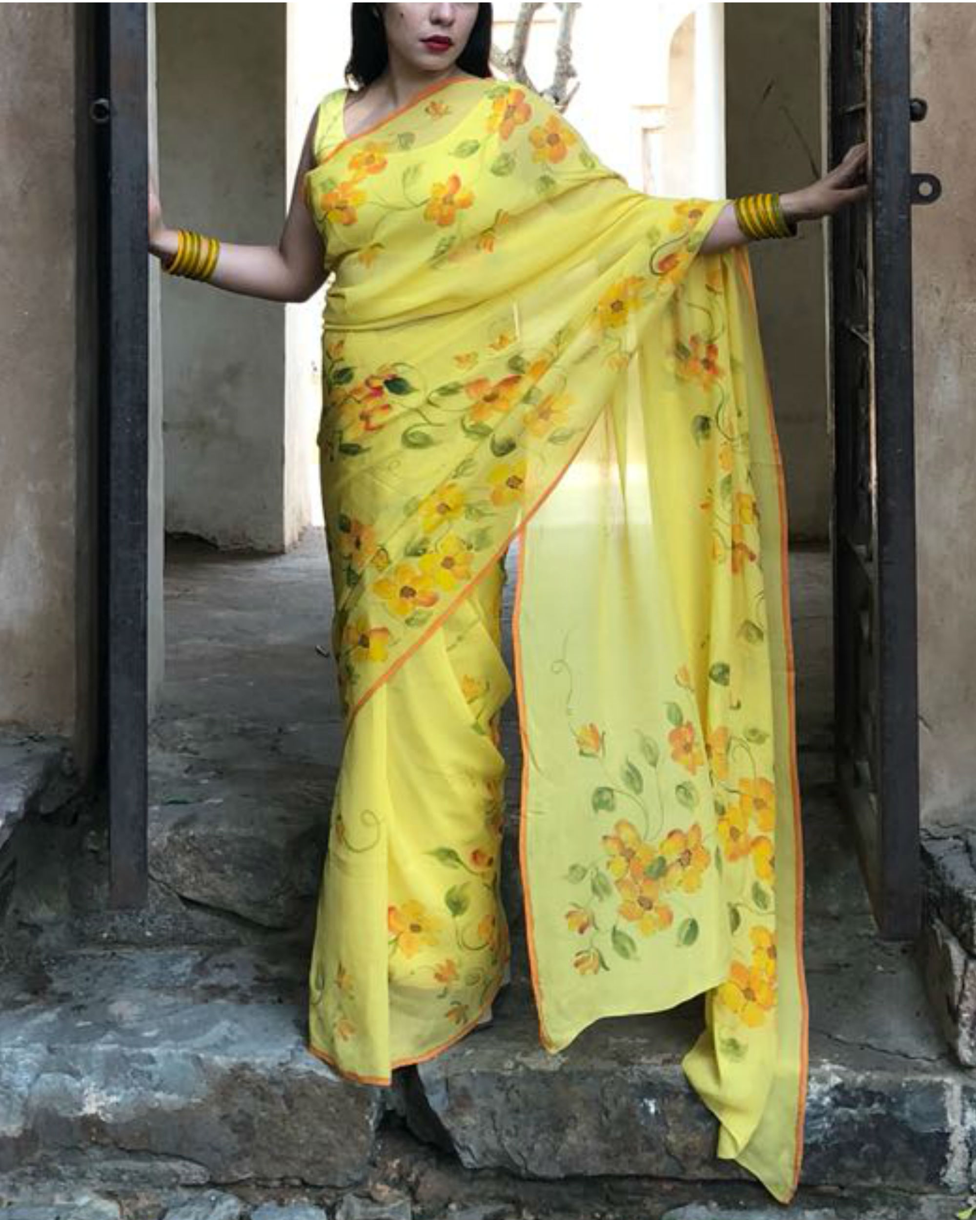Sunshine yellow sari