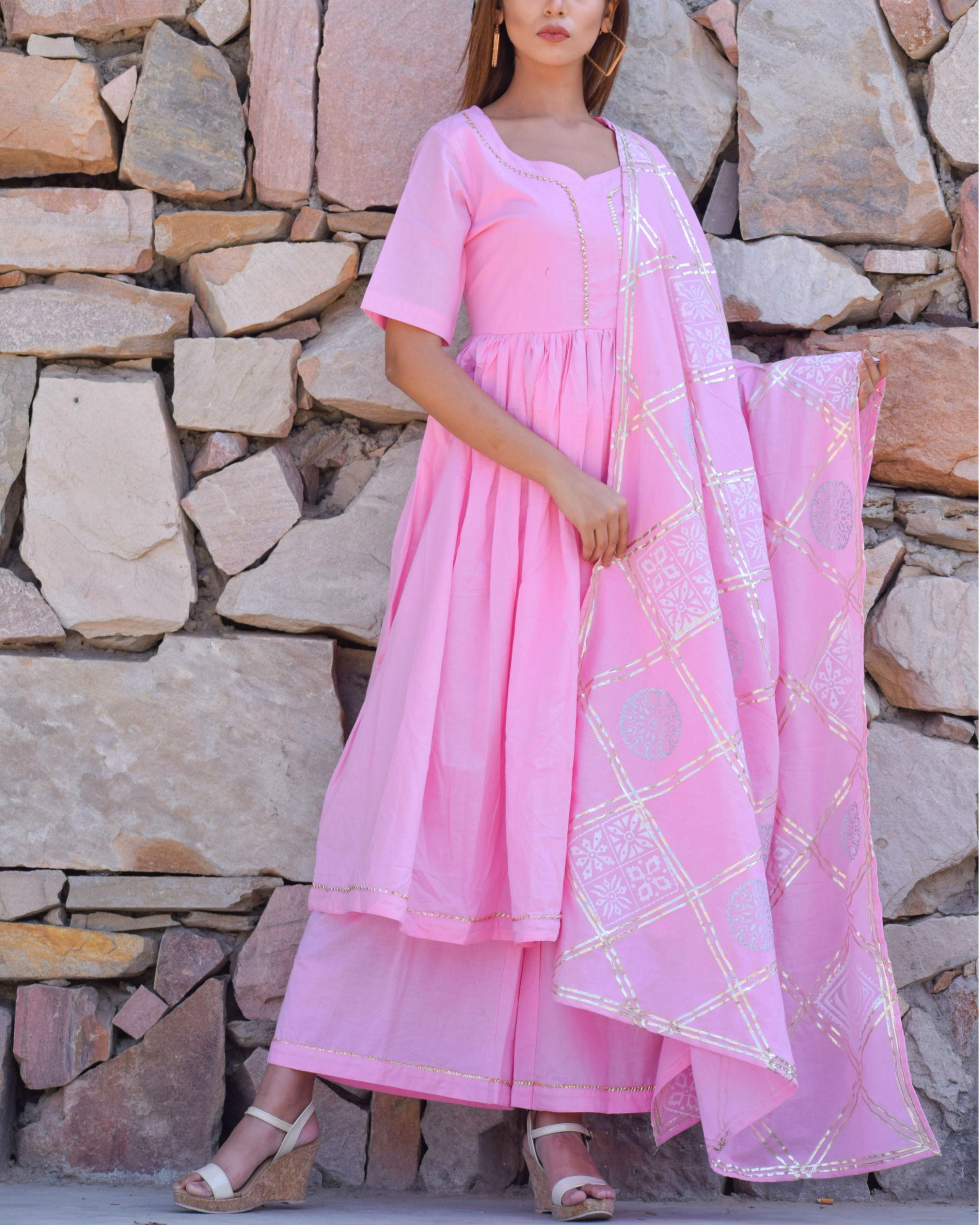 Baby pink kurta set with pink dupatta