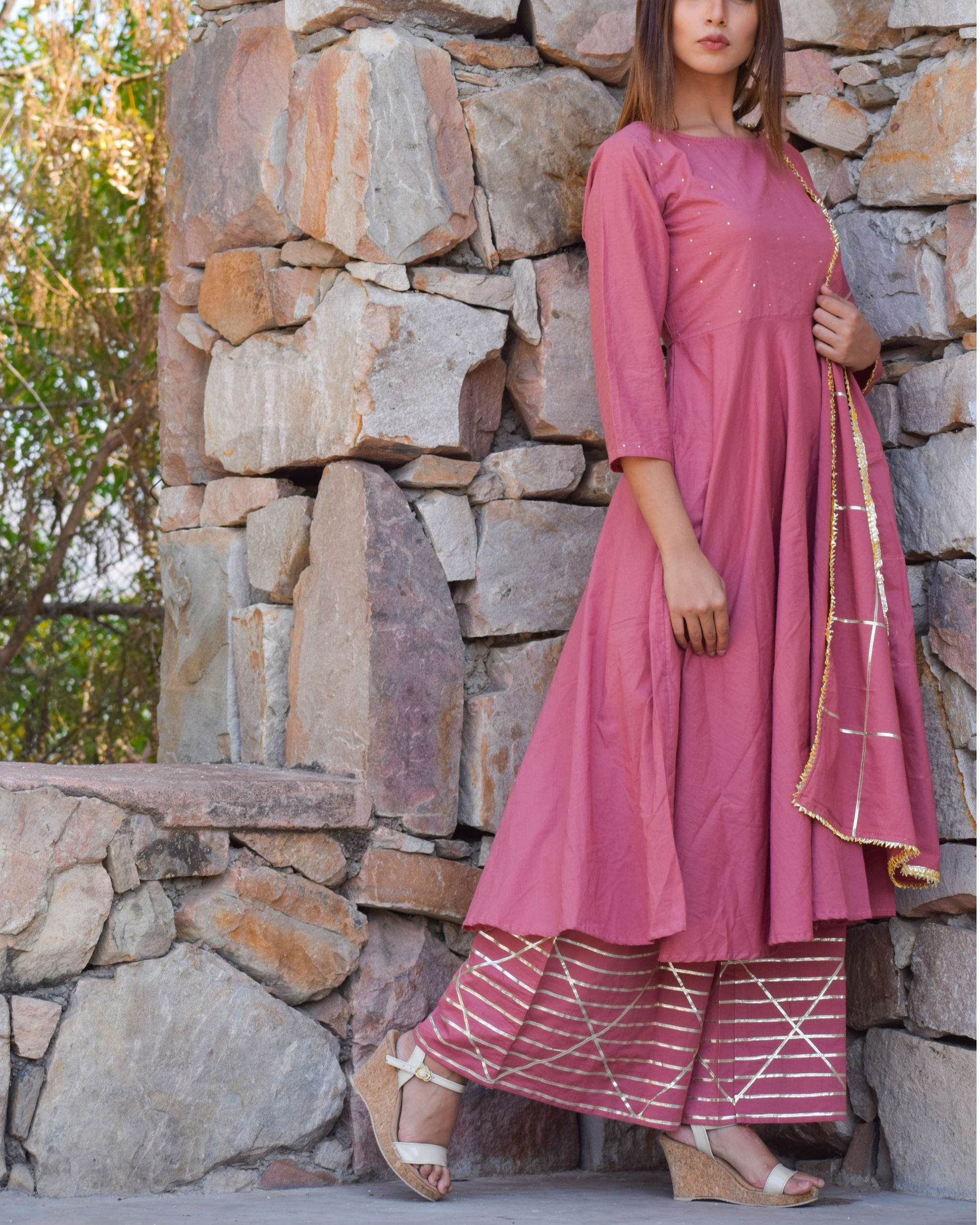 Moss rose kurta set with dupatta