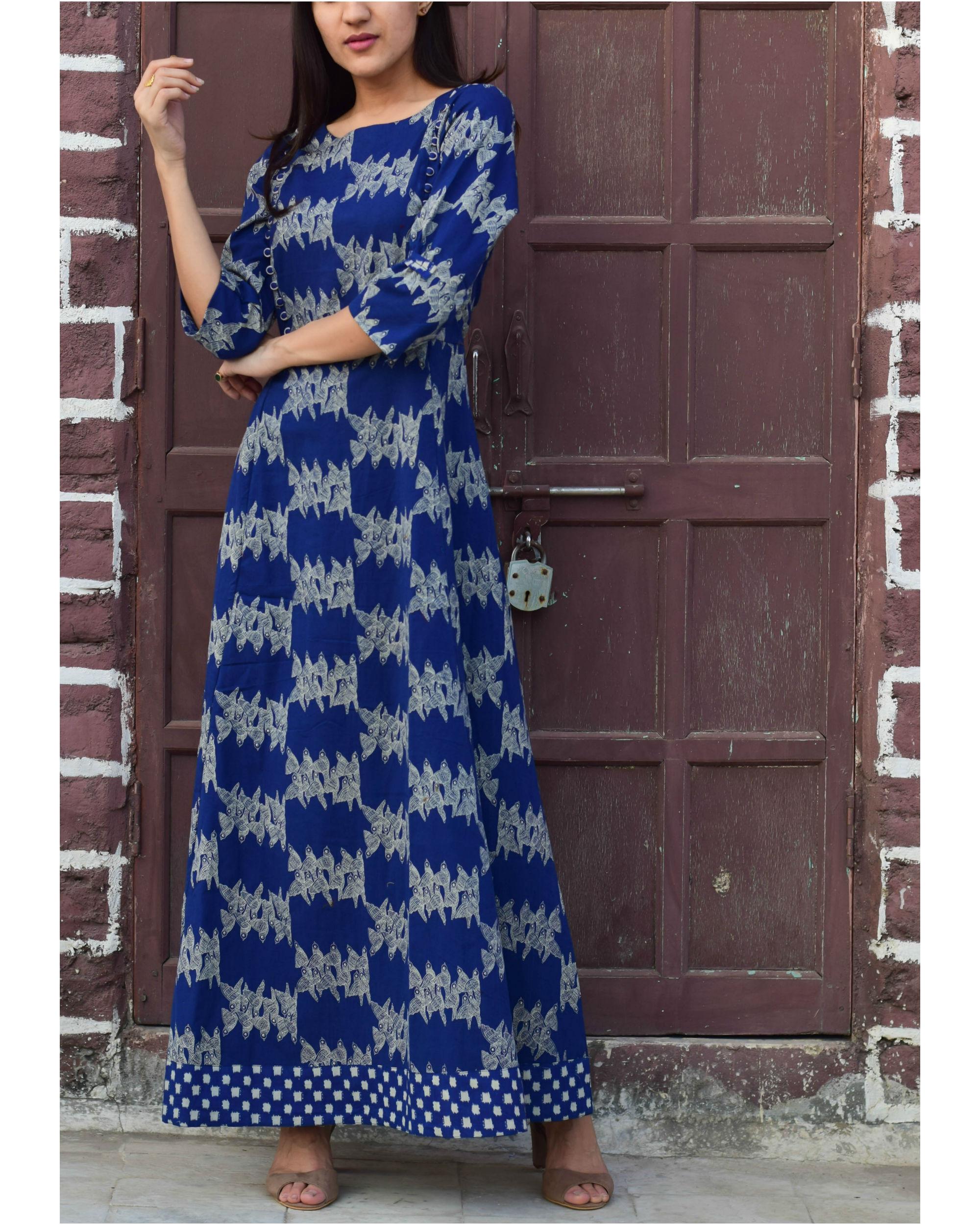 Blue checkered border dress