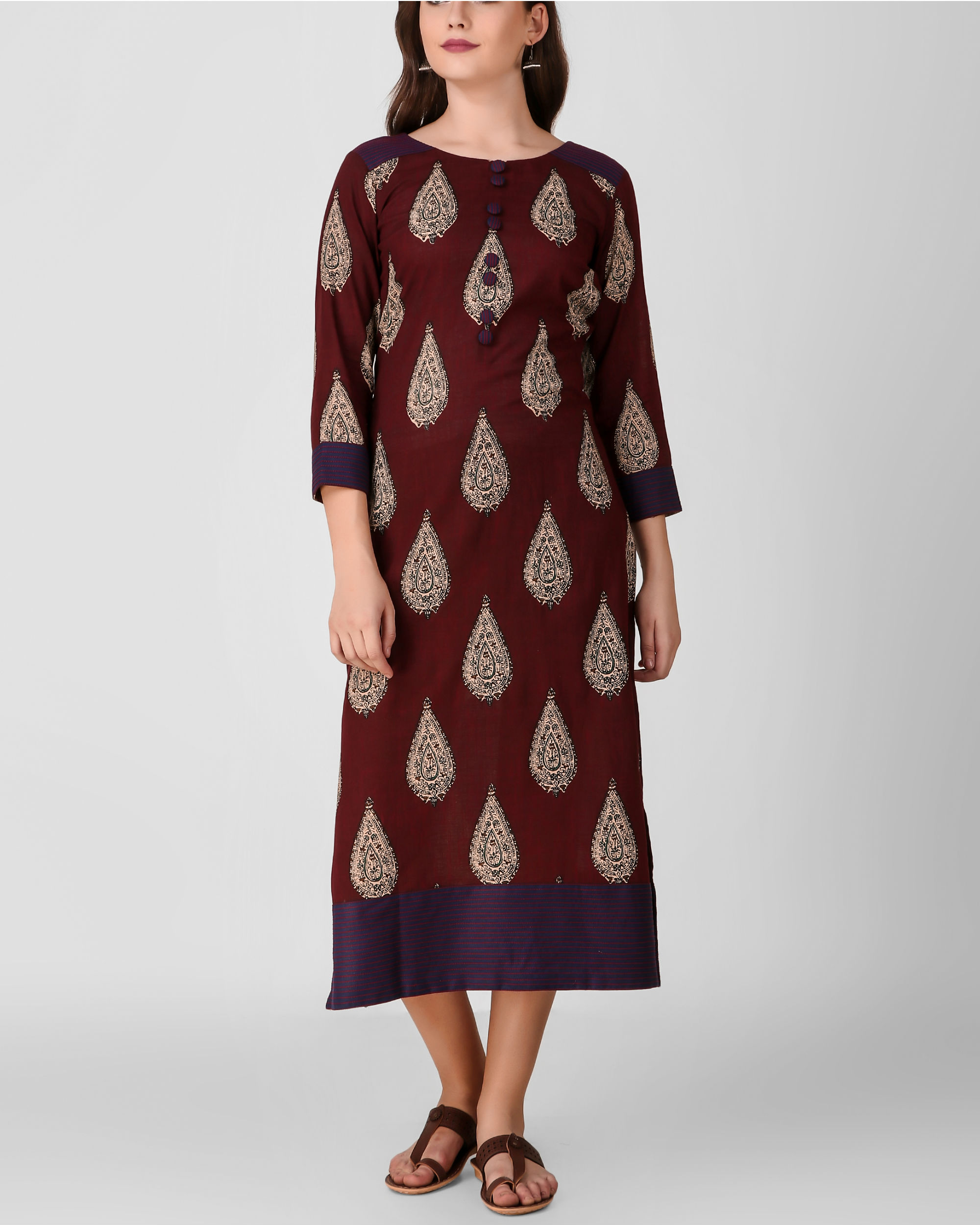 Reddish brown kalamkari dress
