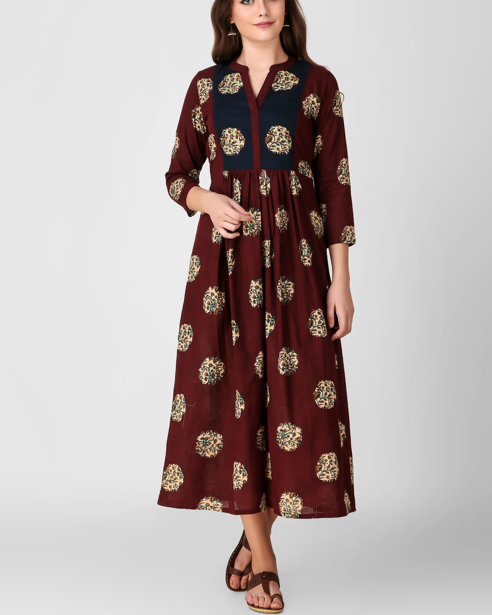 Blue yoke kalamkari dress