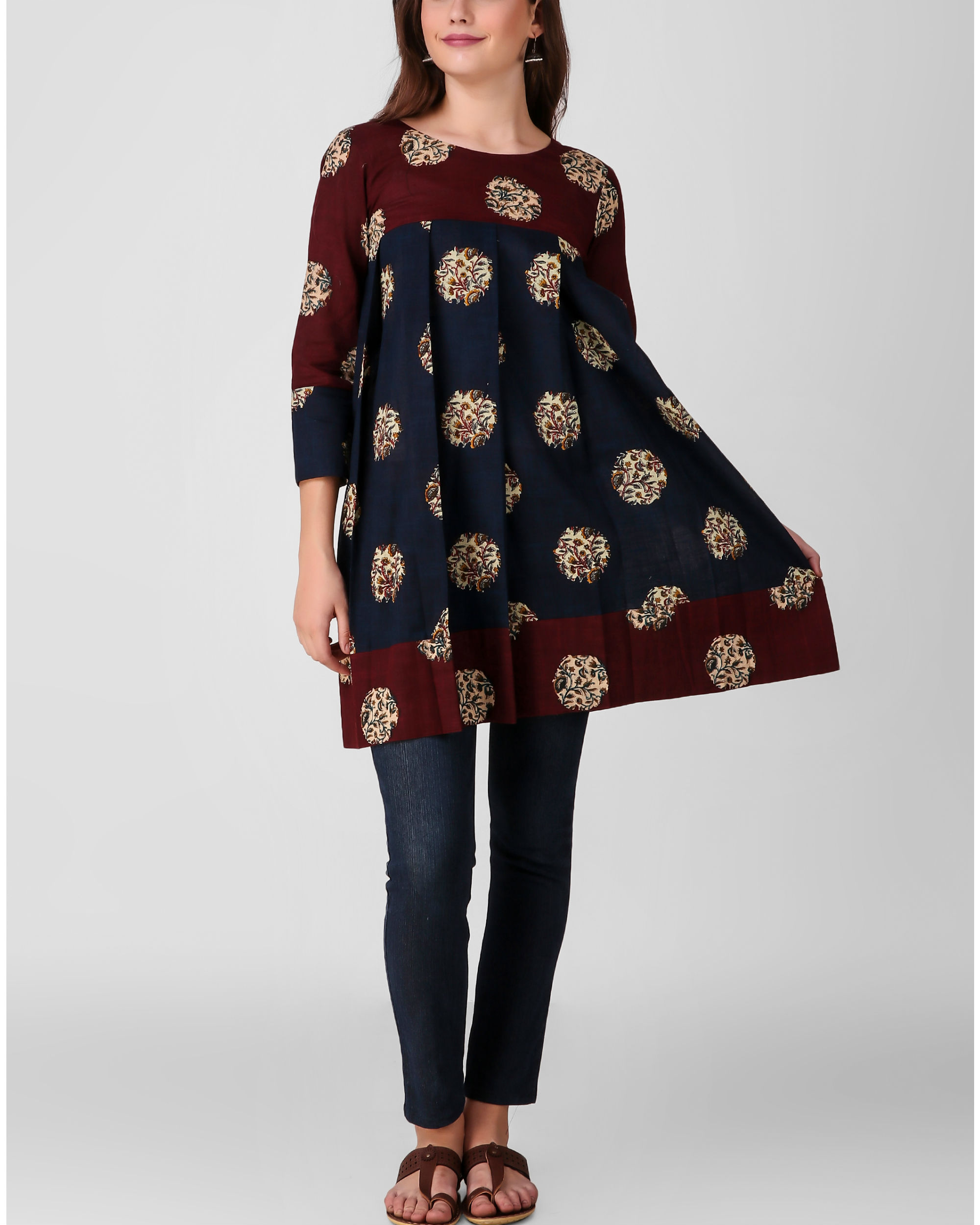 Blue pleated kalamkari tunic