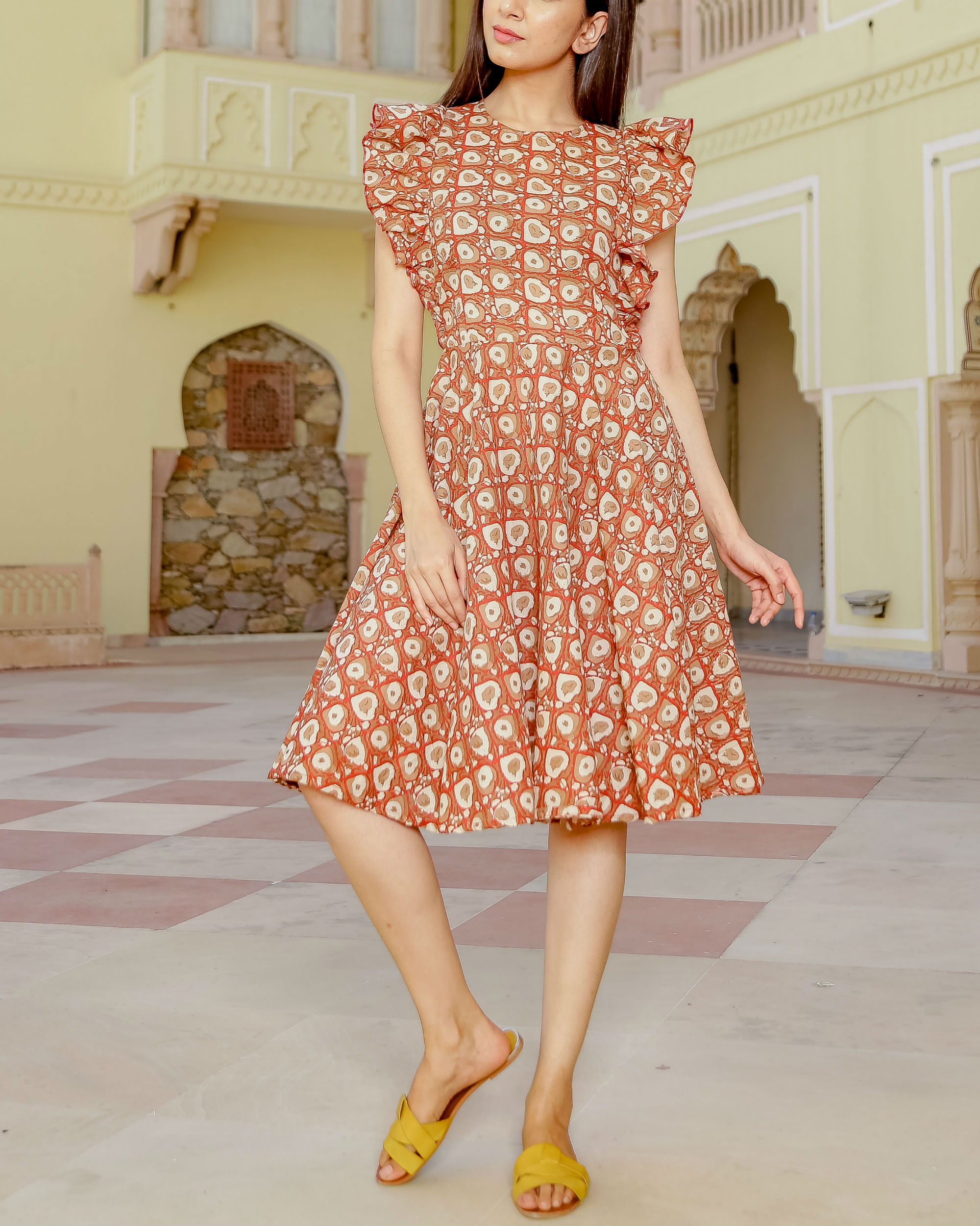 Frill short printed dress