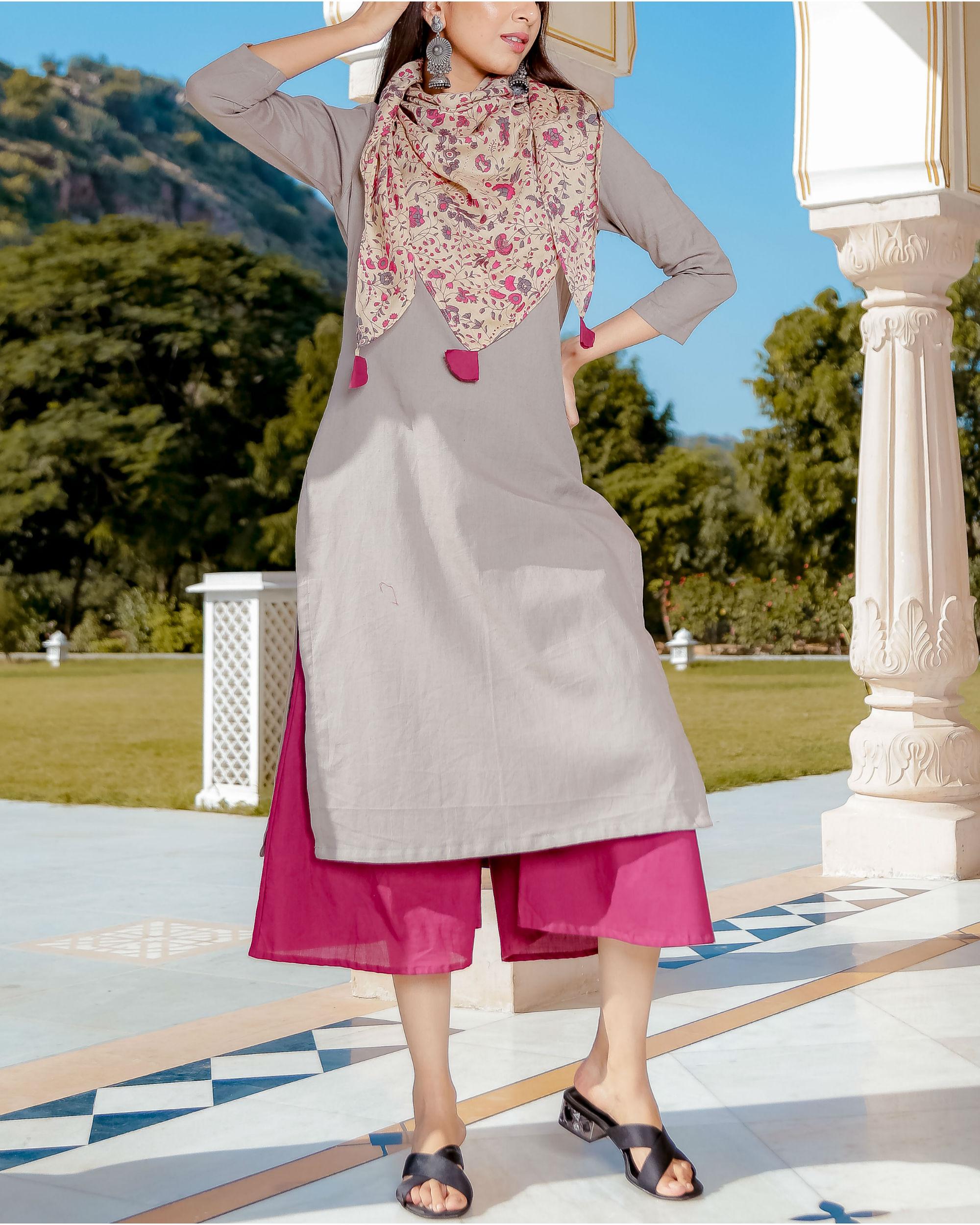 Grey and pink kurta set
