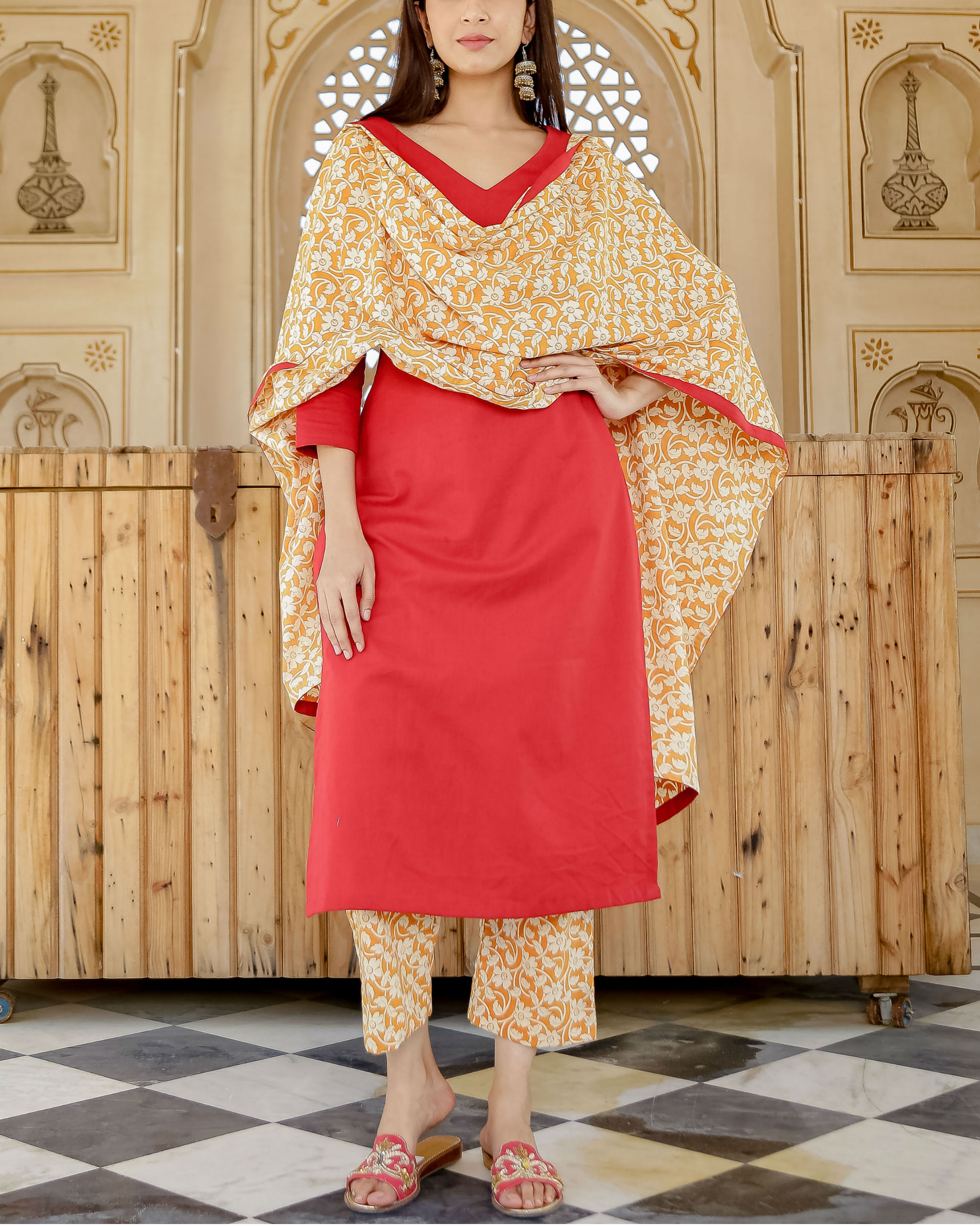 Floral red solid kurta set
