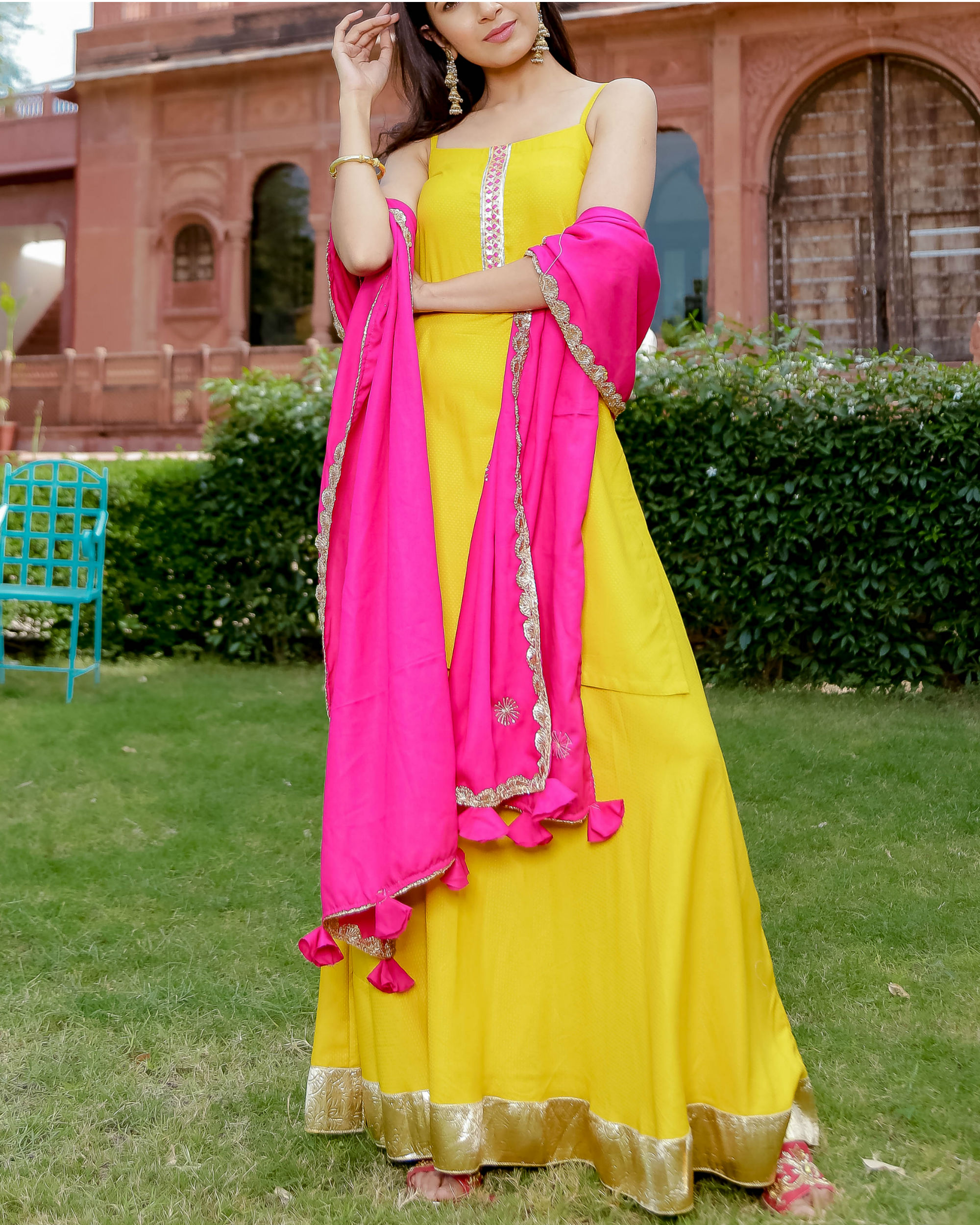 Yellow gota placket kurta set