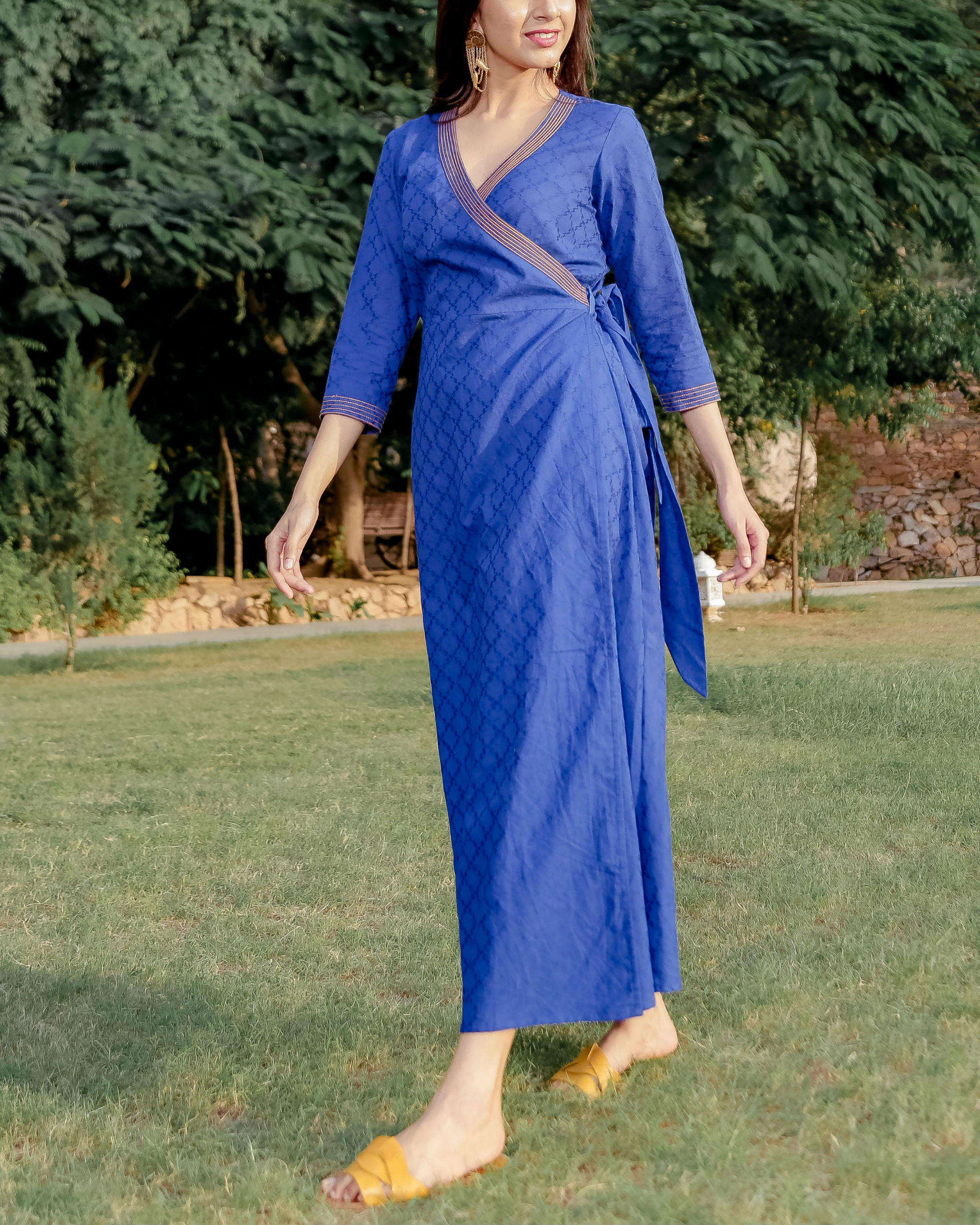 Blue printed angrakha dress