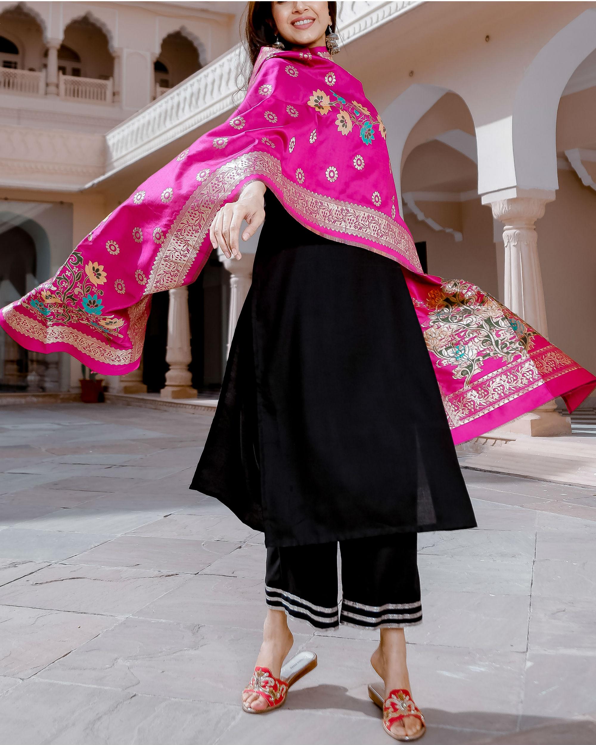 Black and pink gota suit set
