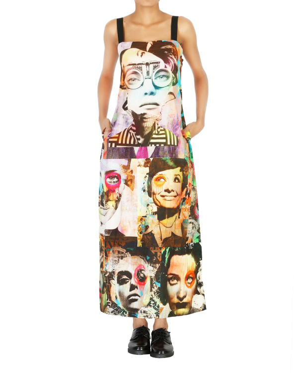 Collage print long dress