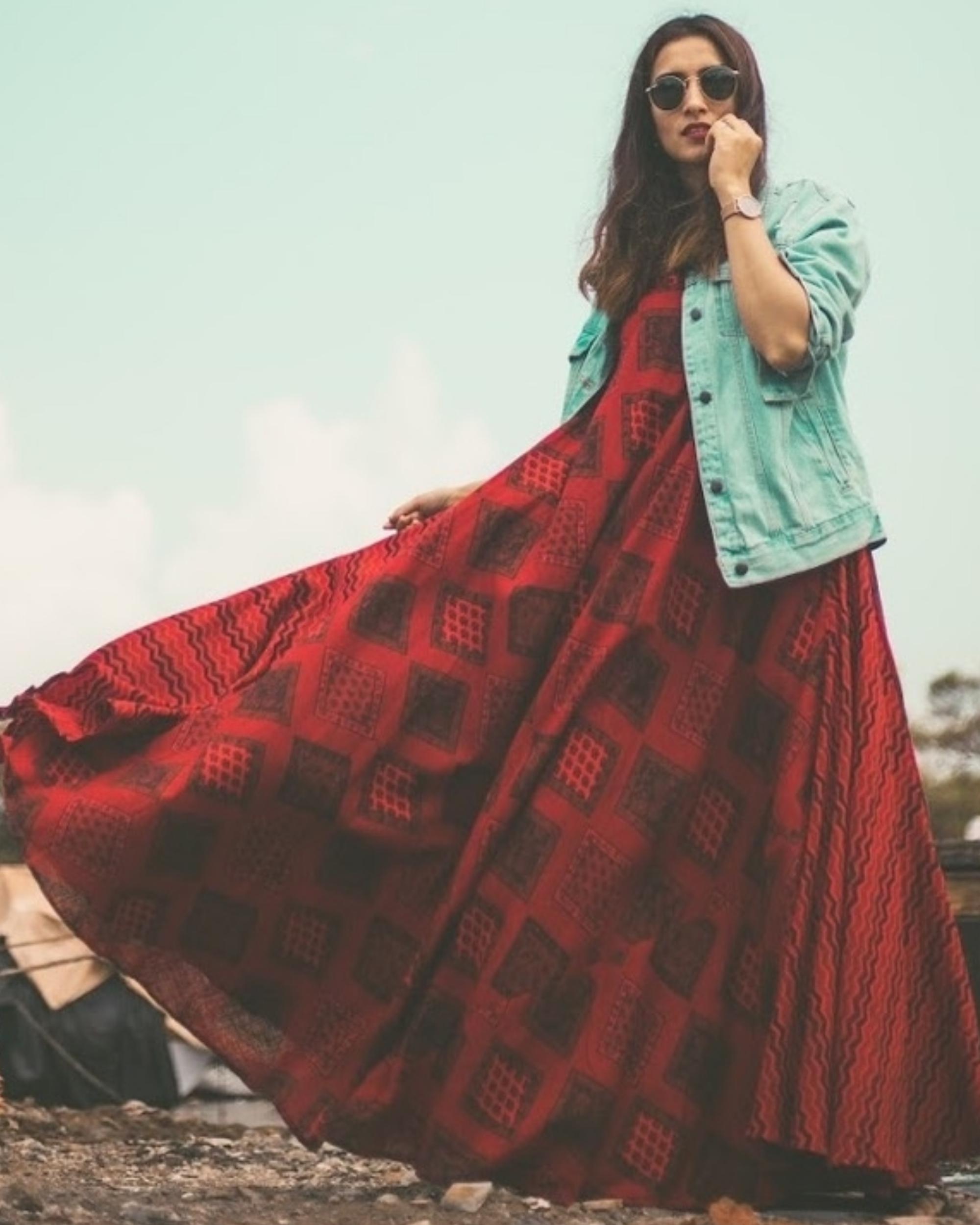Red Dual Print Dress