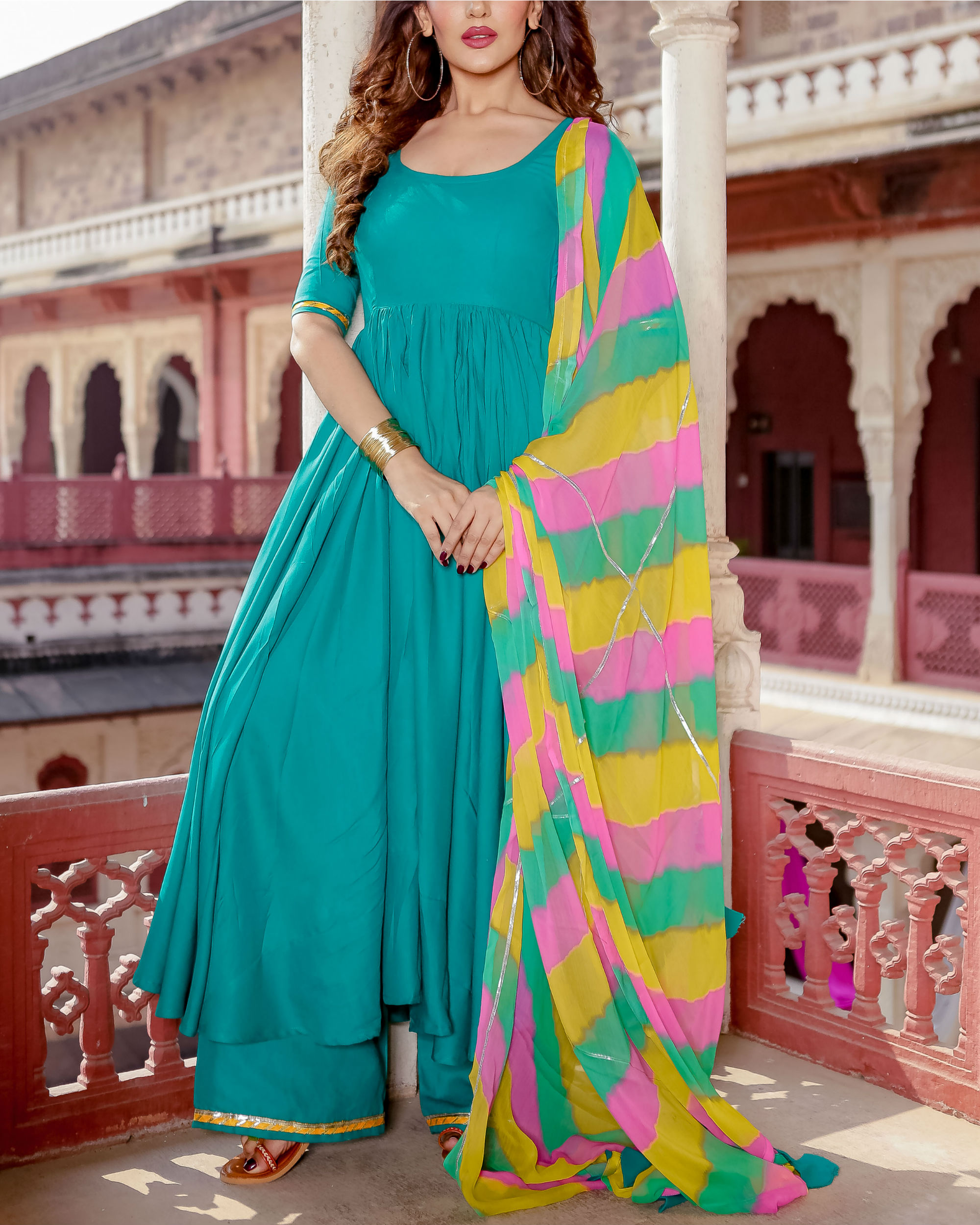 Turquoise suit set with leheriya dupatta
