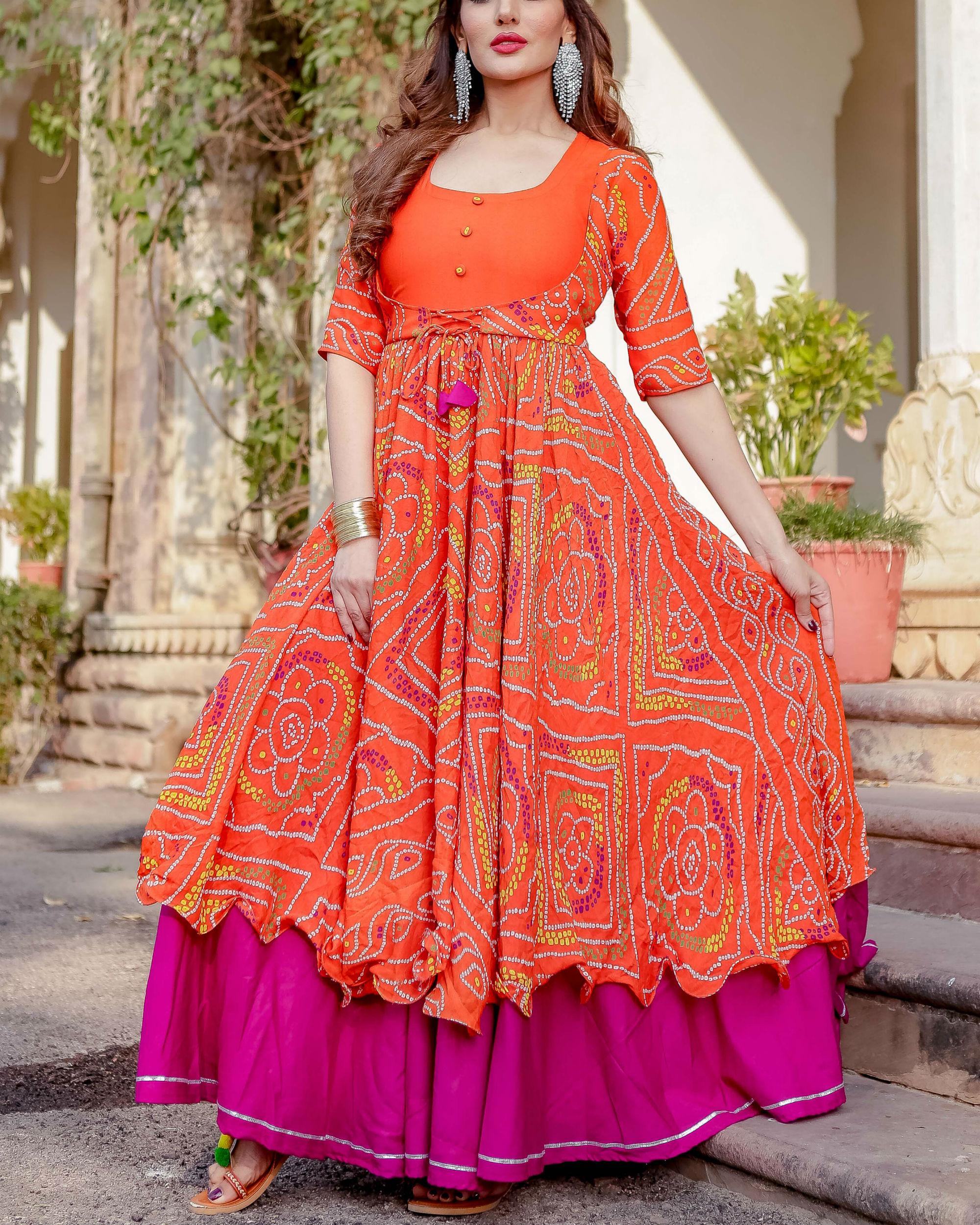 Orange bandhani flared dress