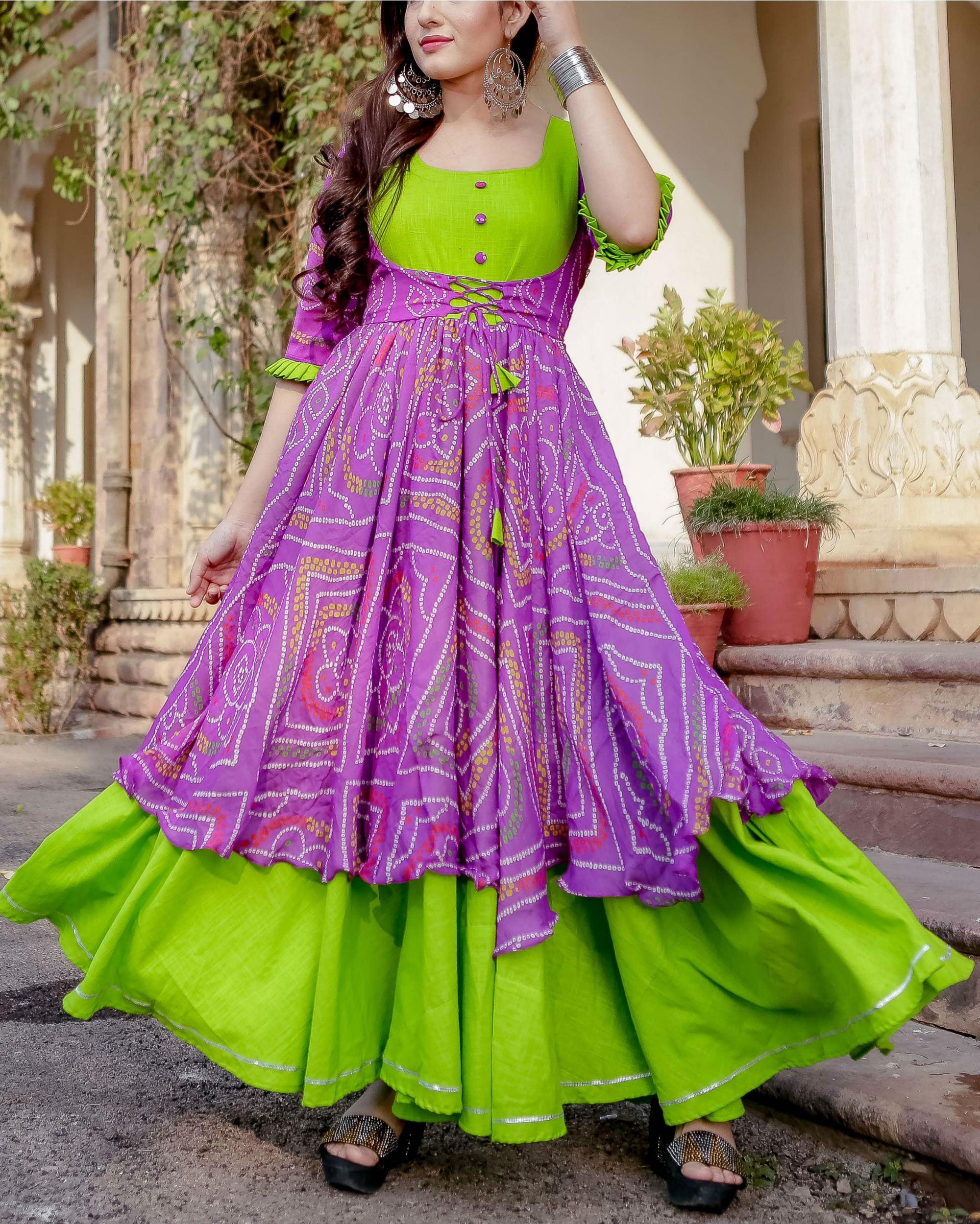 Purple and green flared dress
