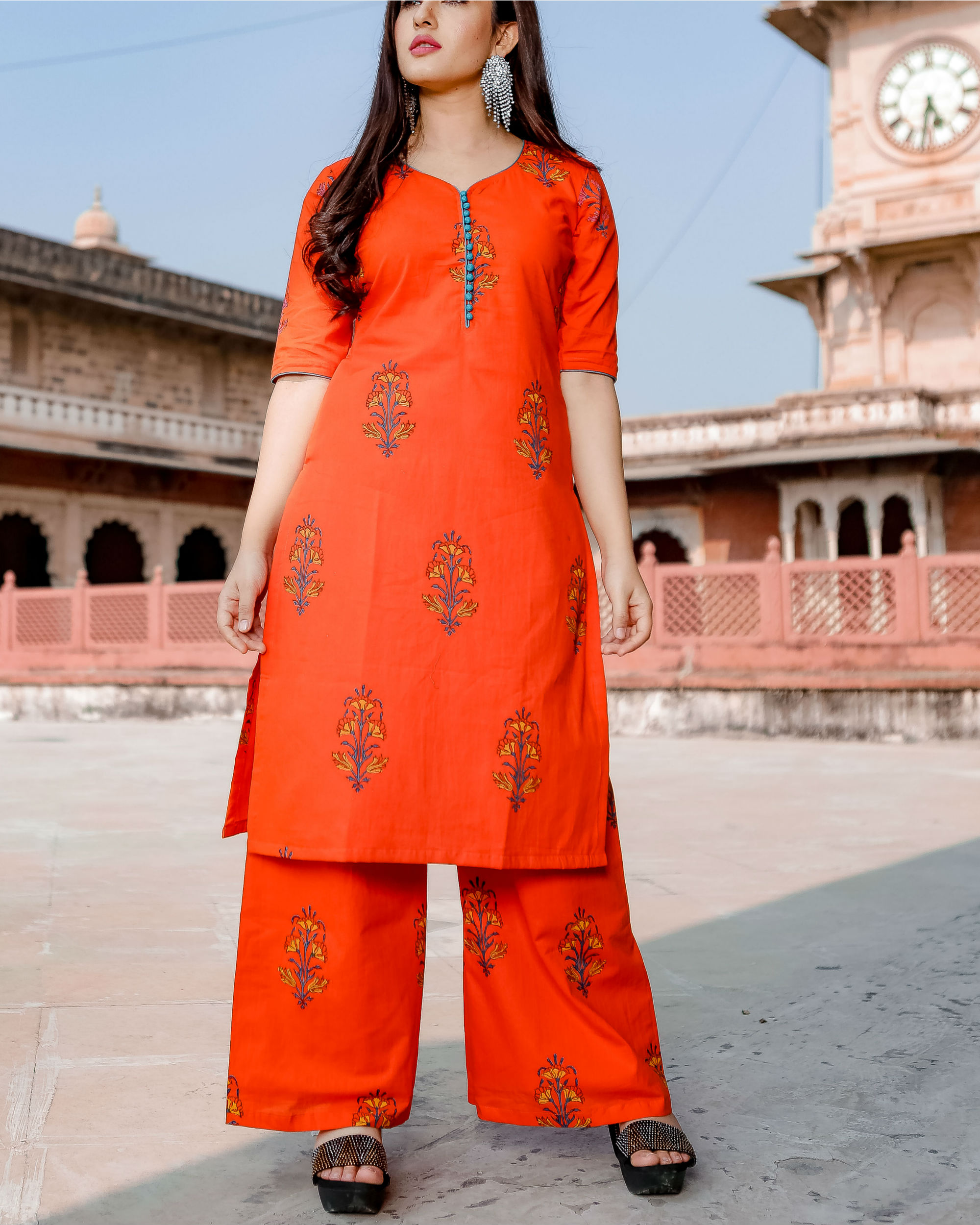 Orange hand print kurta set