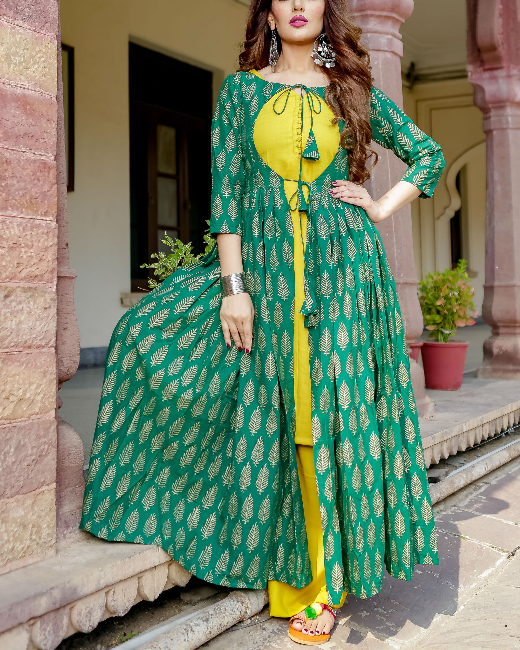Lime yellow and green block print set
