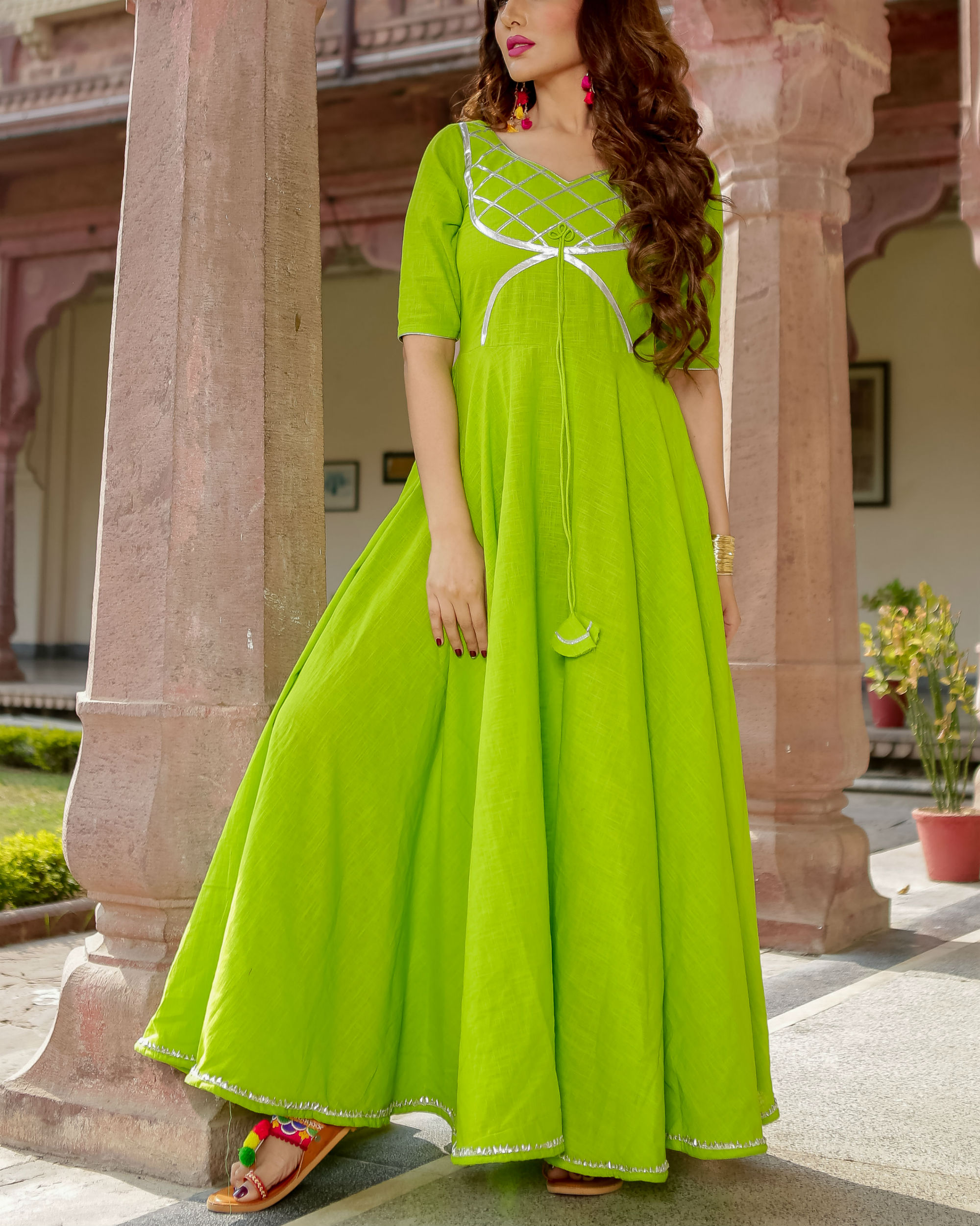 Lime green gota dress