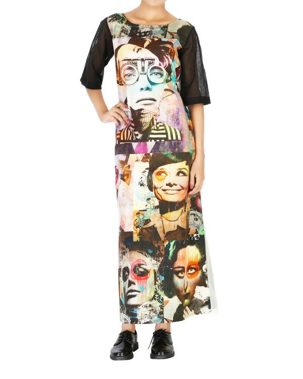 Collage print long dress