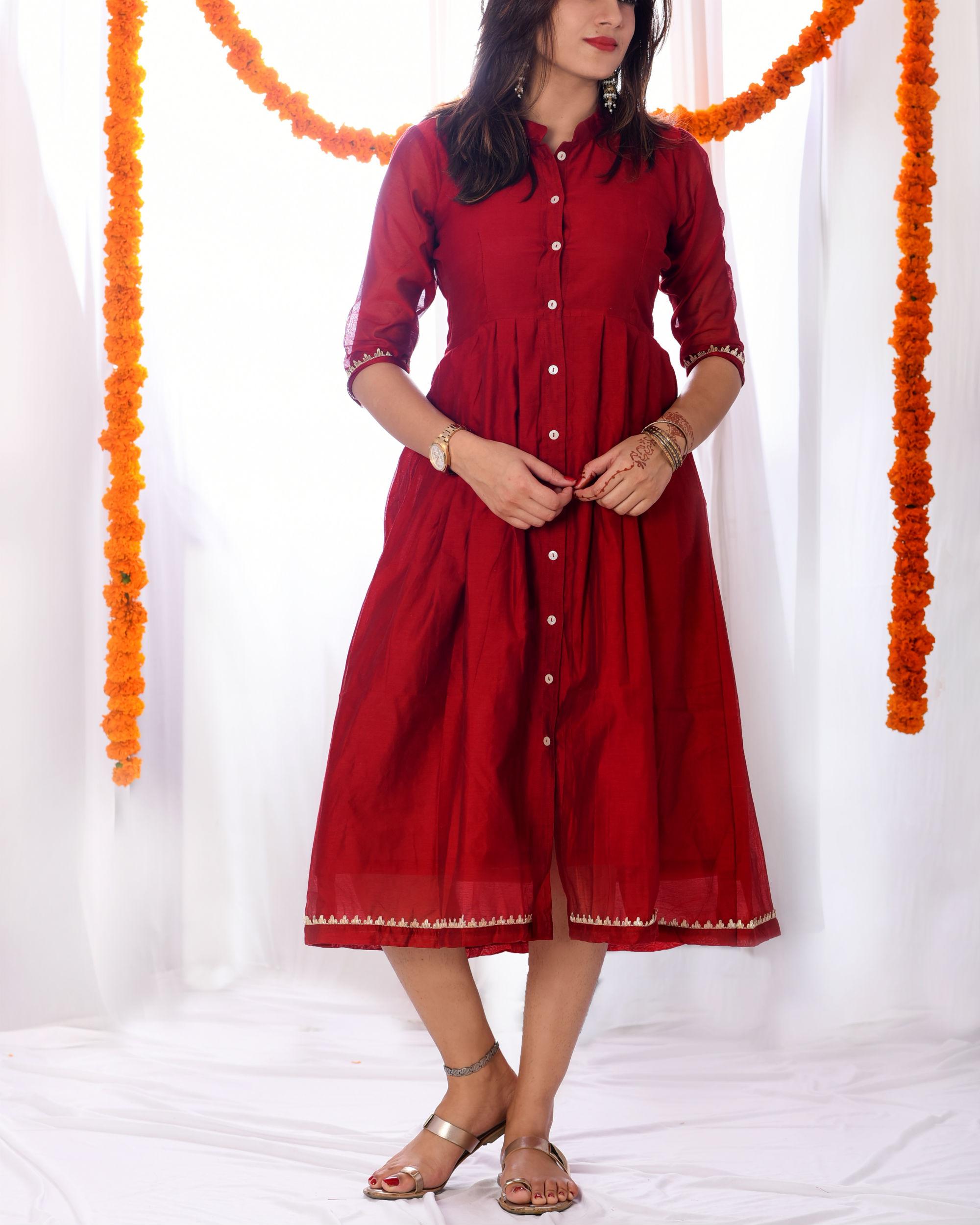 Red knife pleat dress