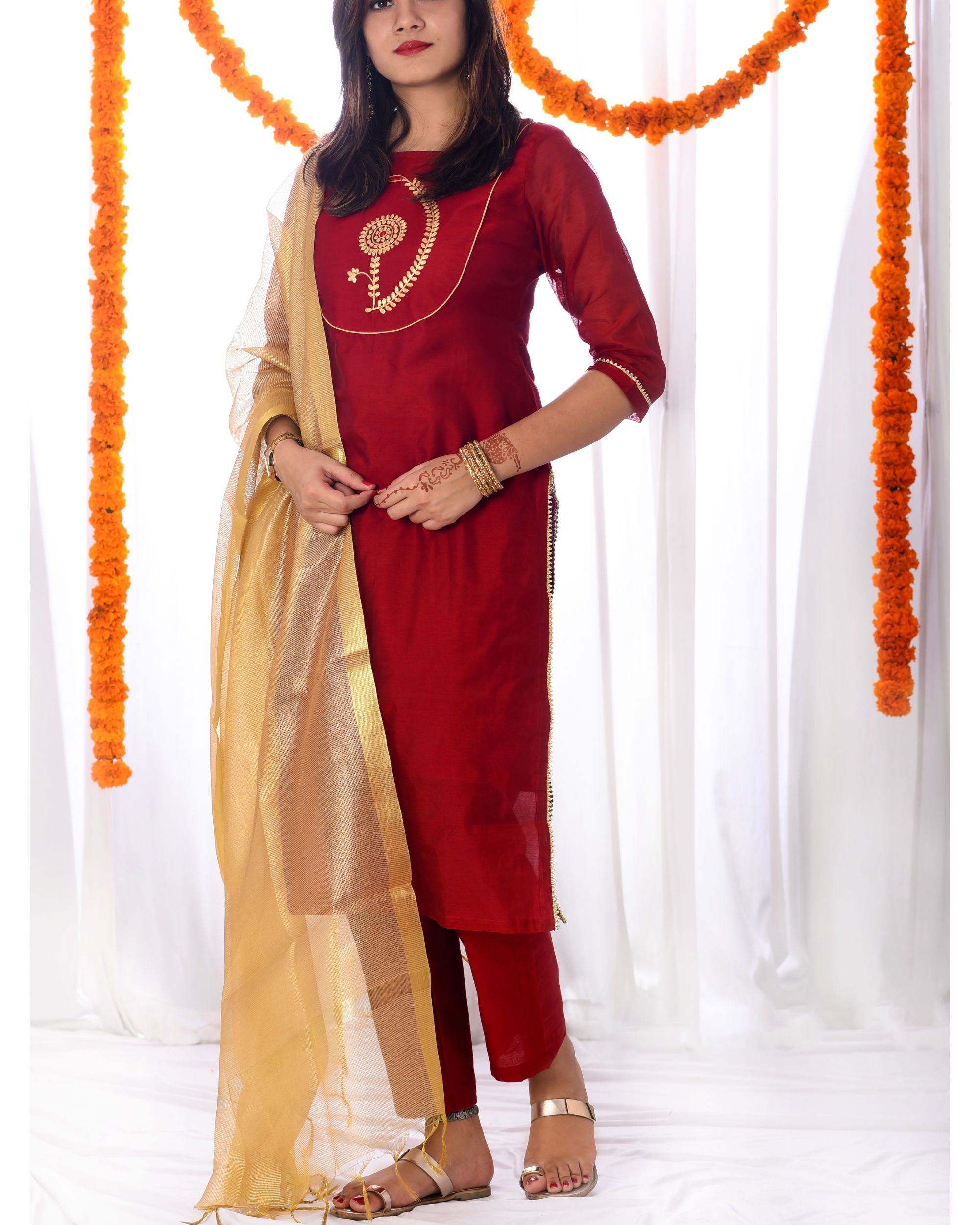 Red embroidered yoke set