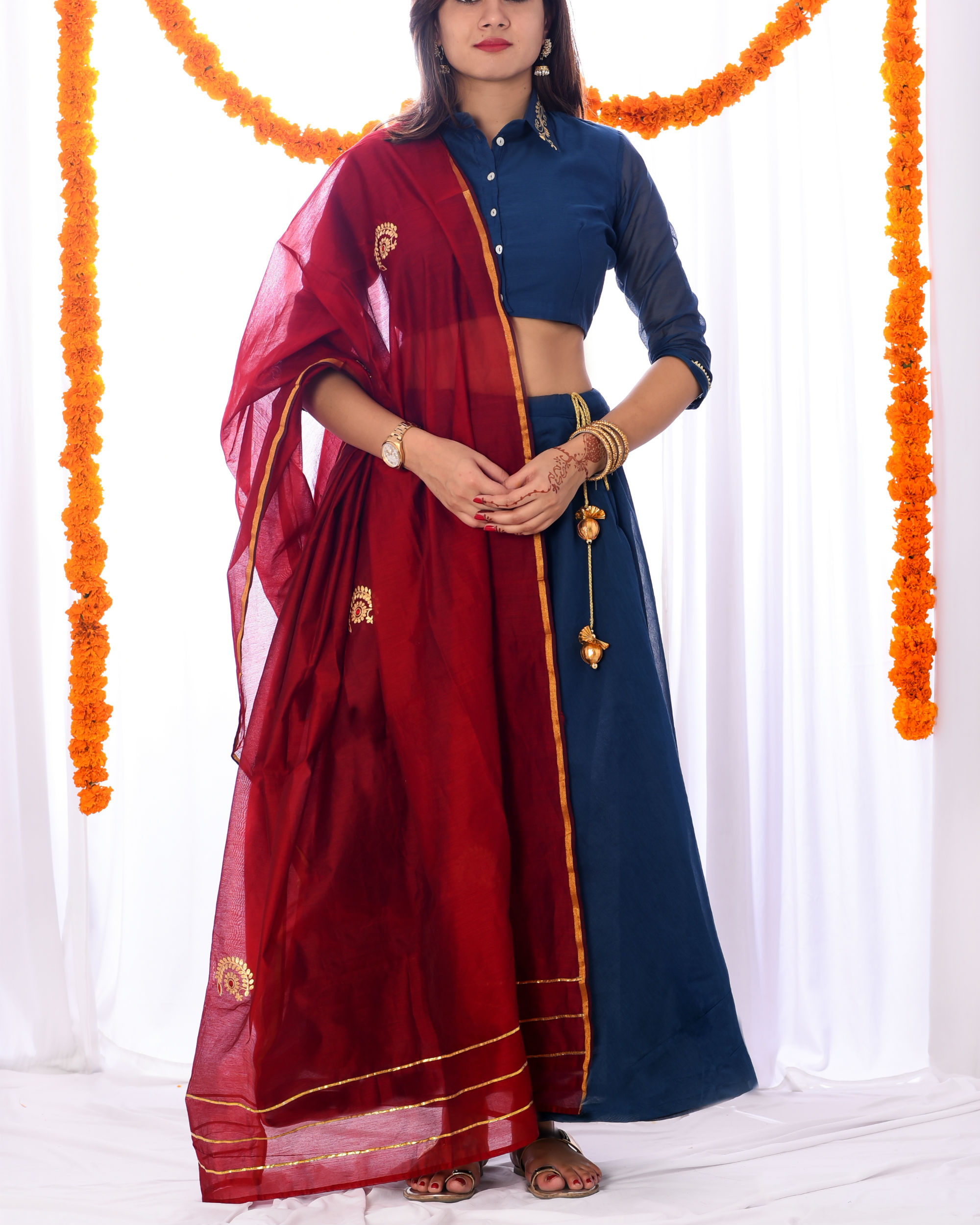Red and blue embroidered lehenga set