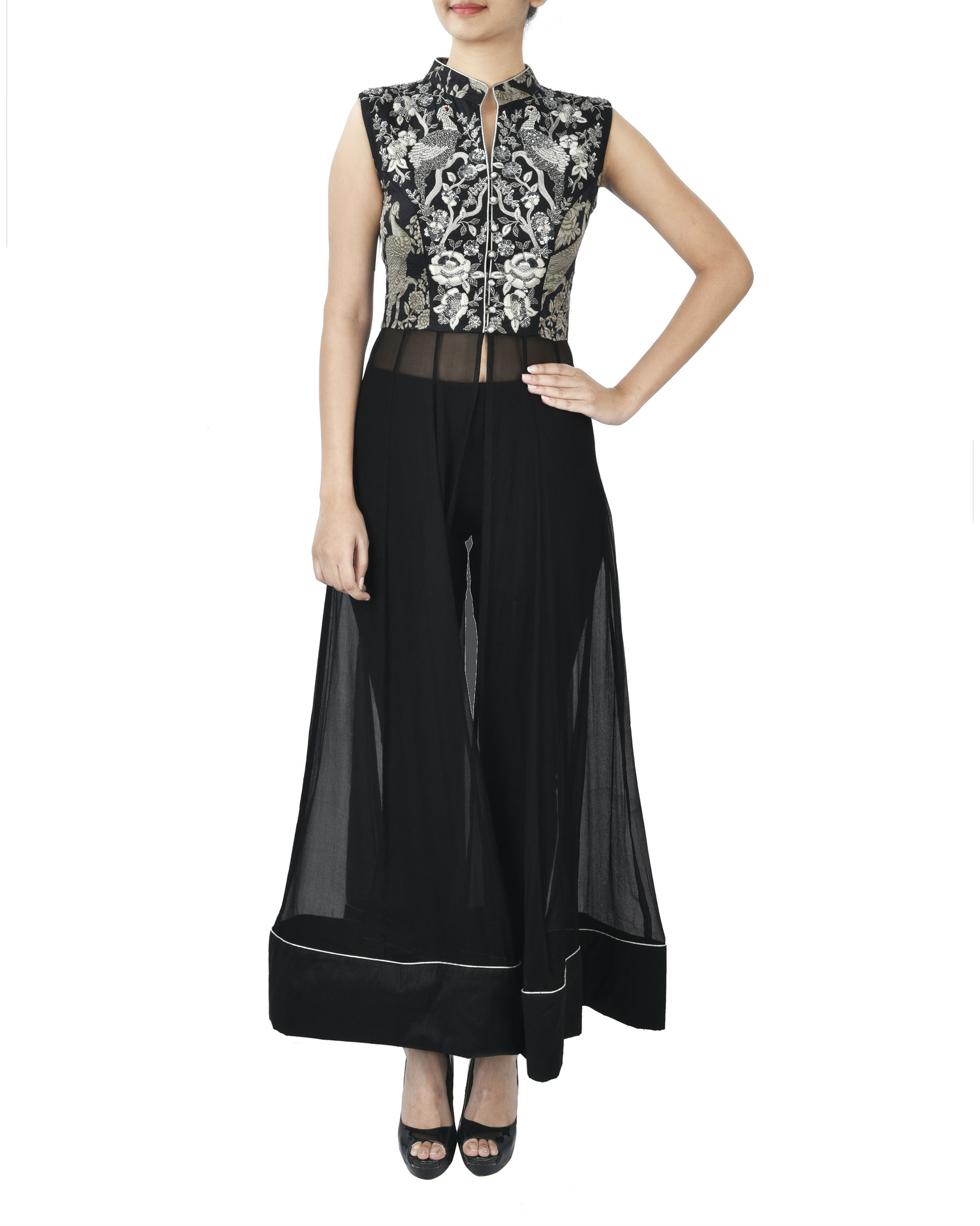 Black tunic with zardozi embroidery