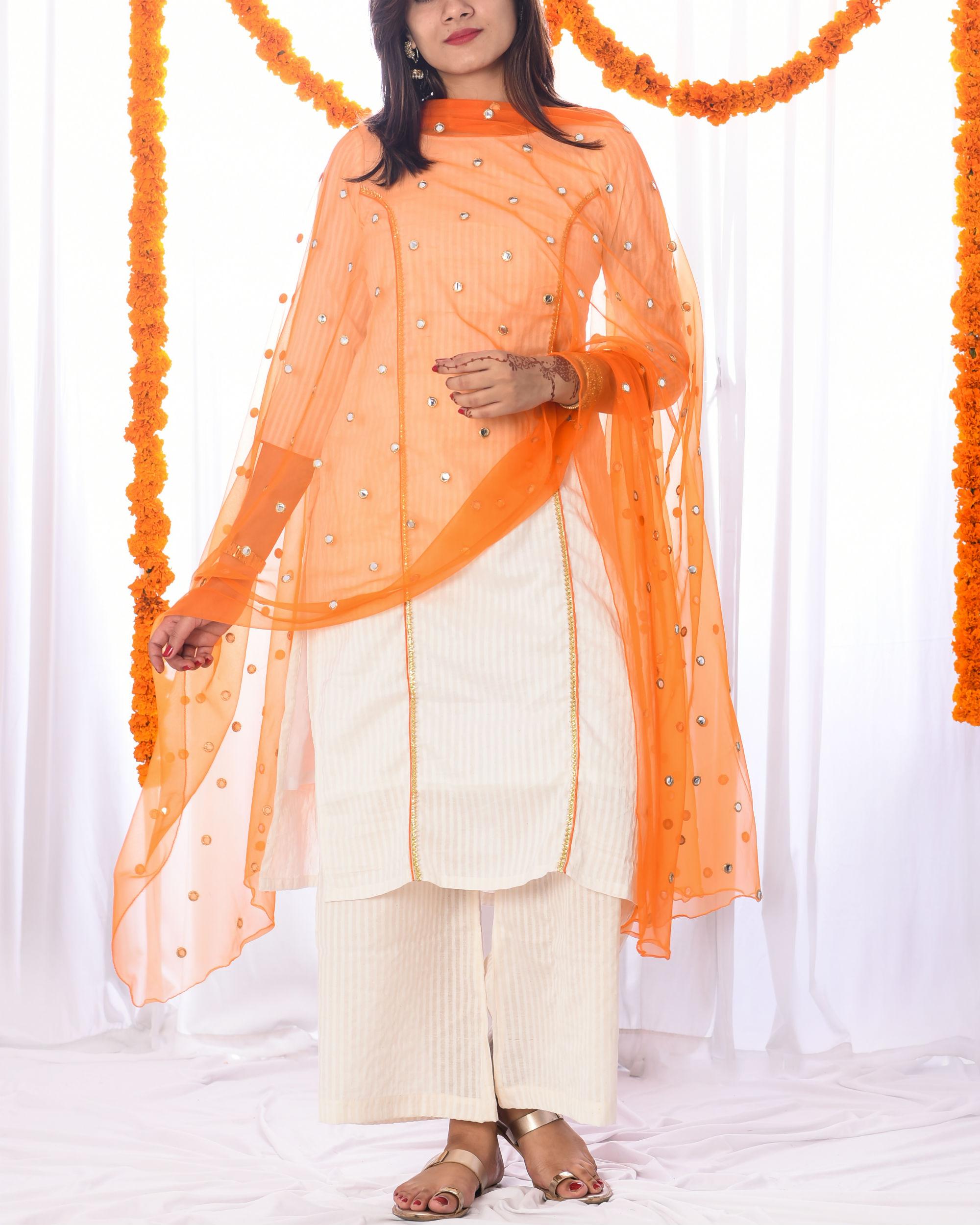 Ivory and orange princess kurta set