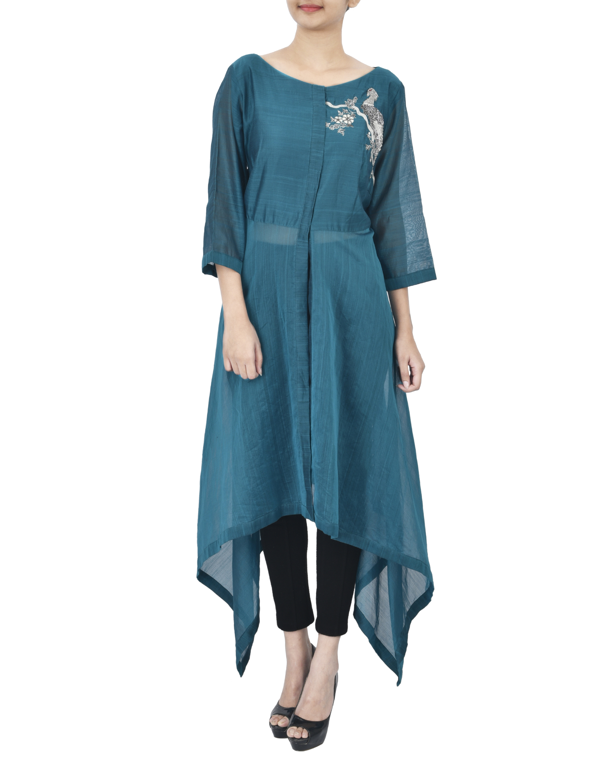 Blue tunic with silver zardozi embroidery
