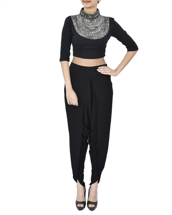 Black crop top with coin neck detailing
