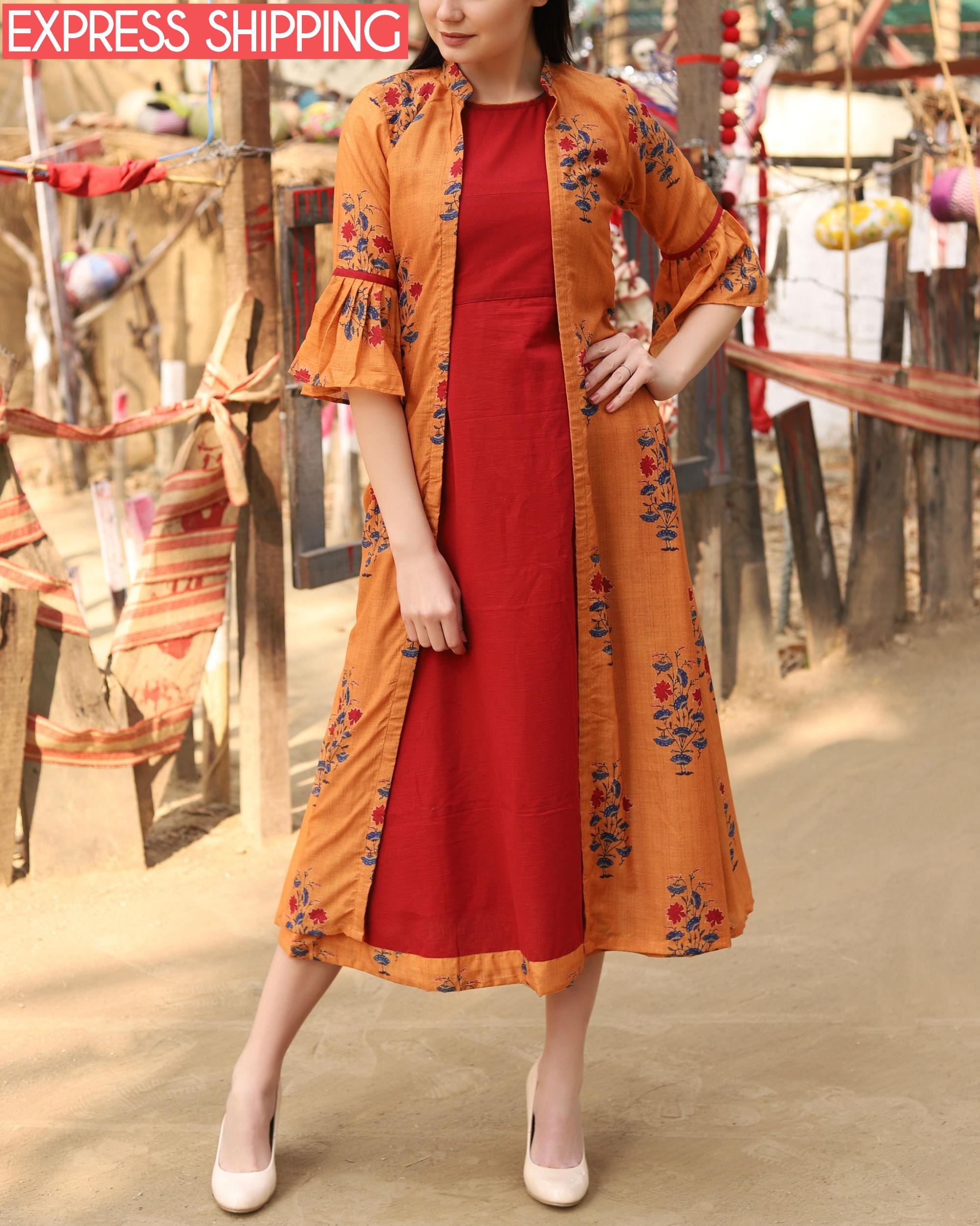 Rust orange and red jacket dress