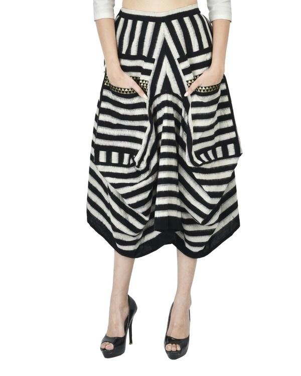 Black and white ikat draped skirt
