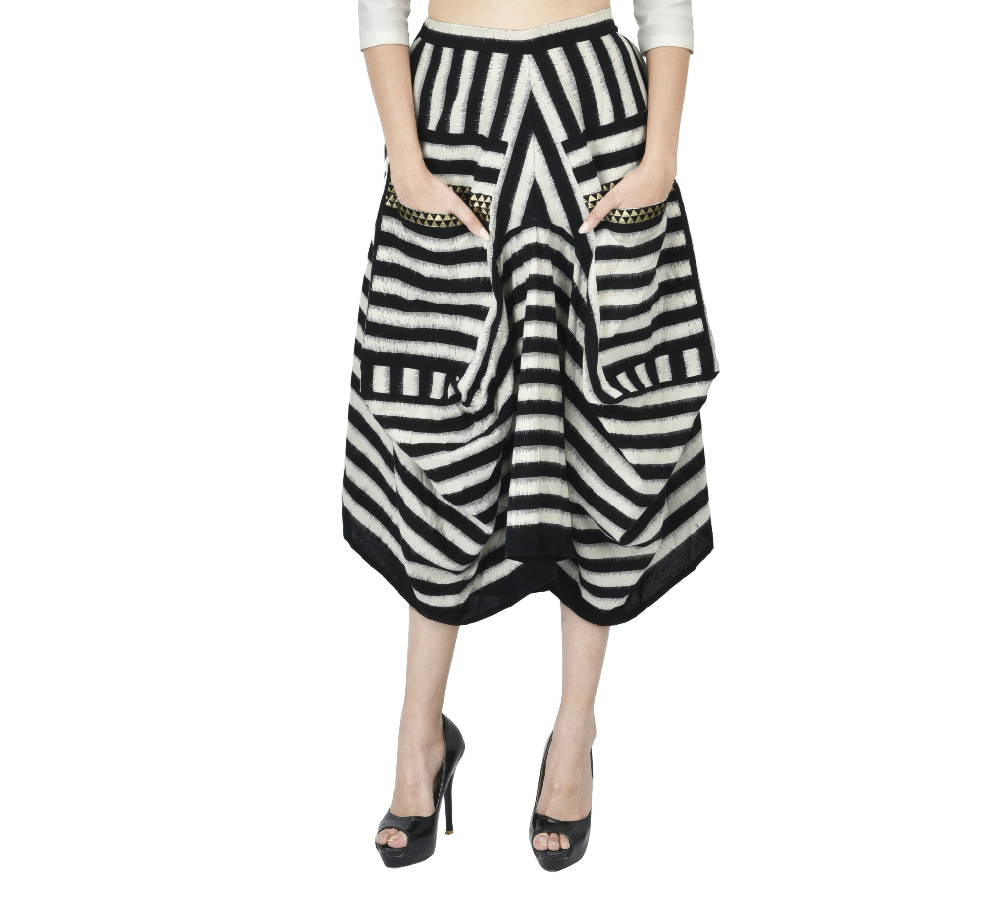 Black and white ikat draped skirt