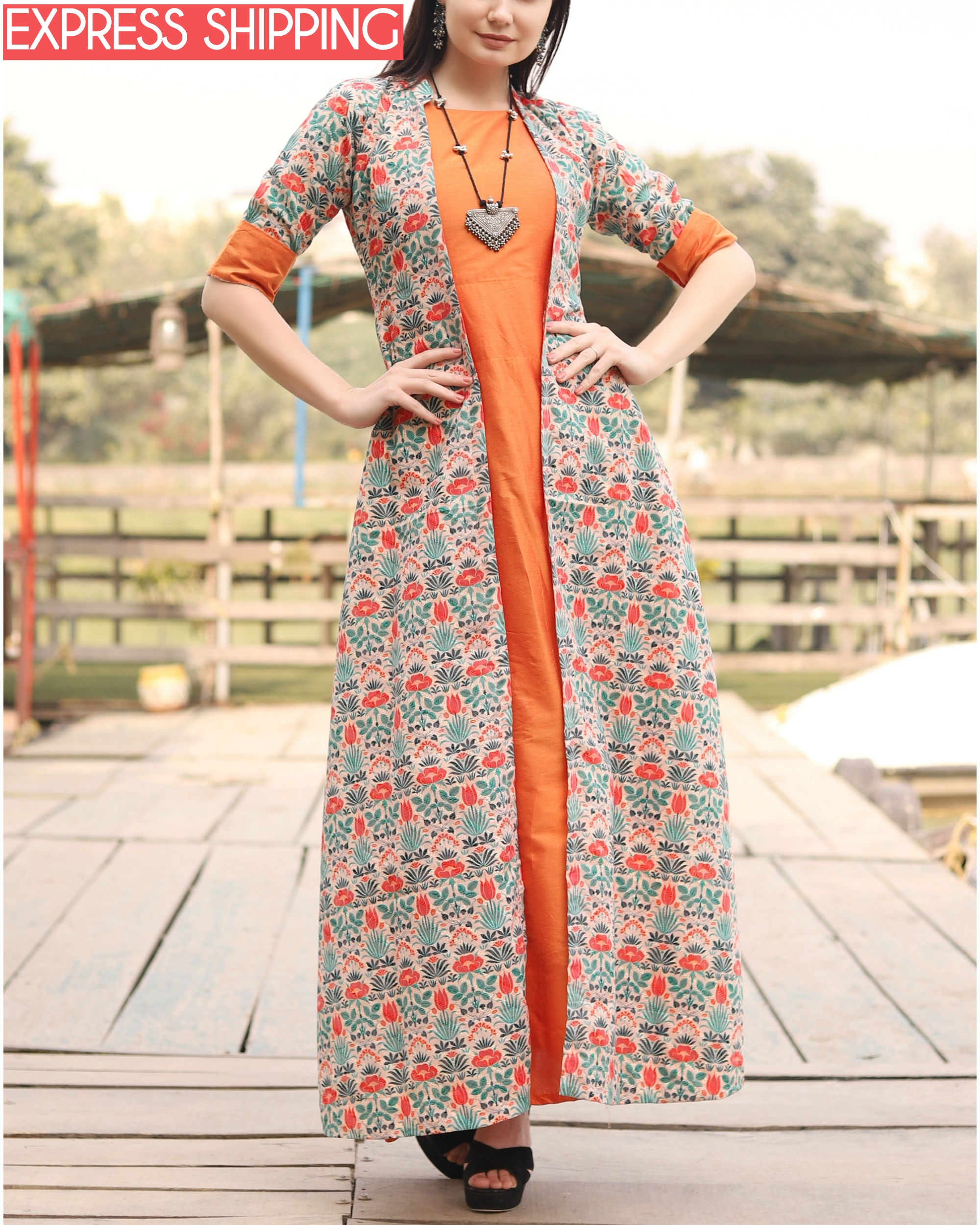 Orange floral self embroidered jacket dress