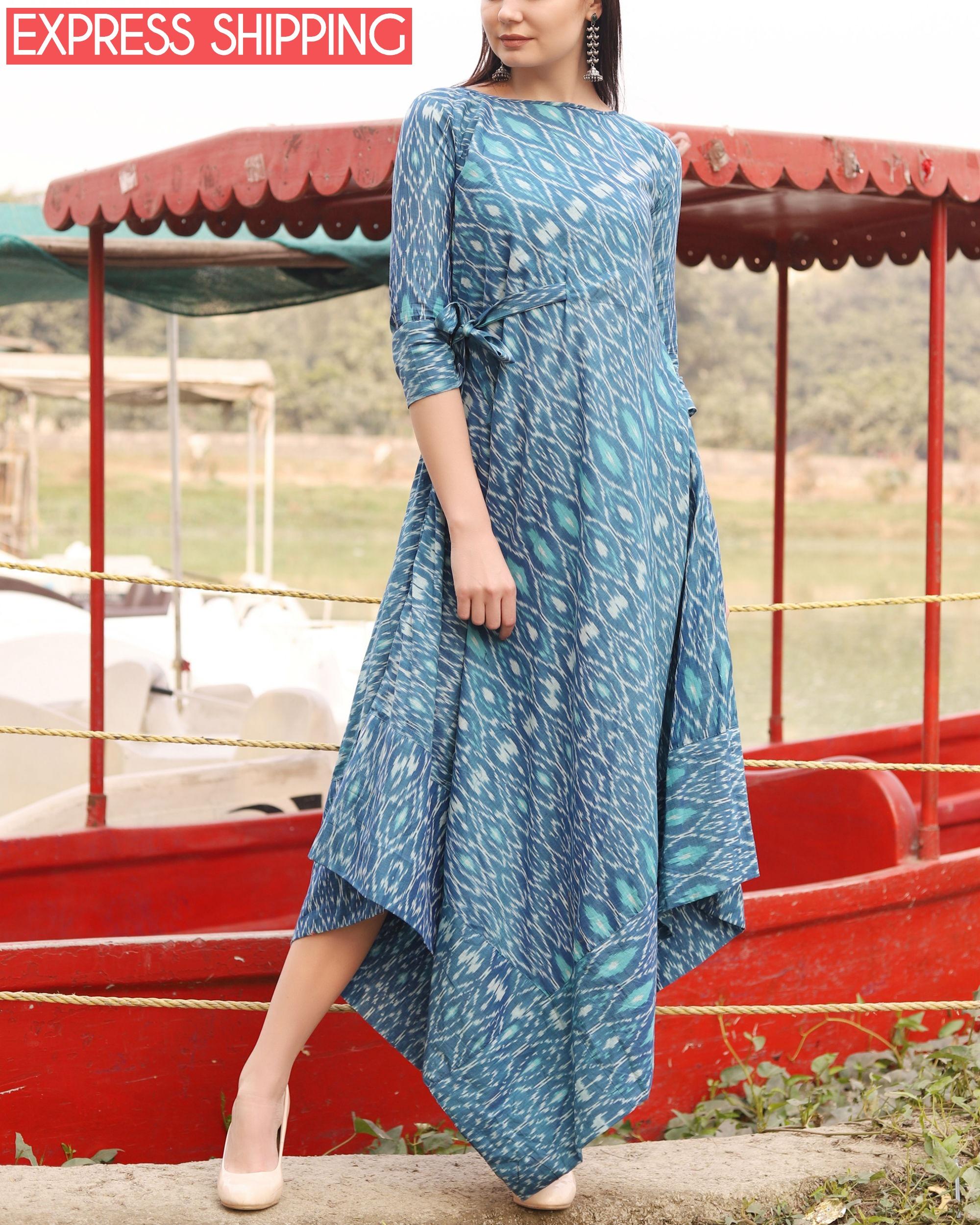Blue ikat uneven hemline dress