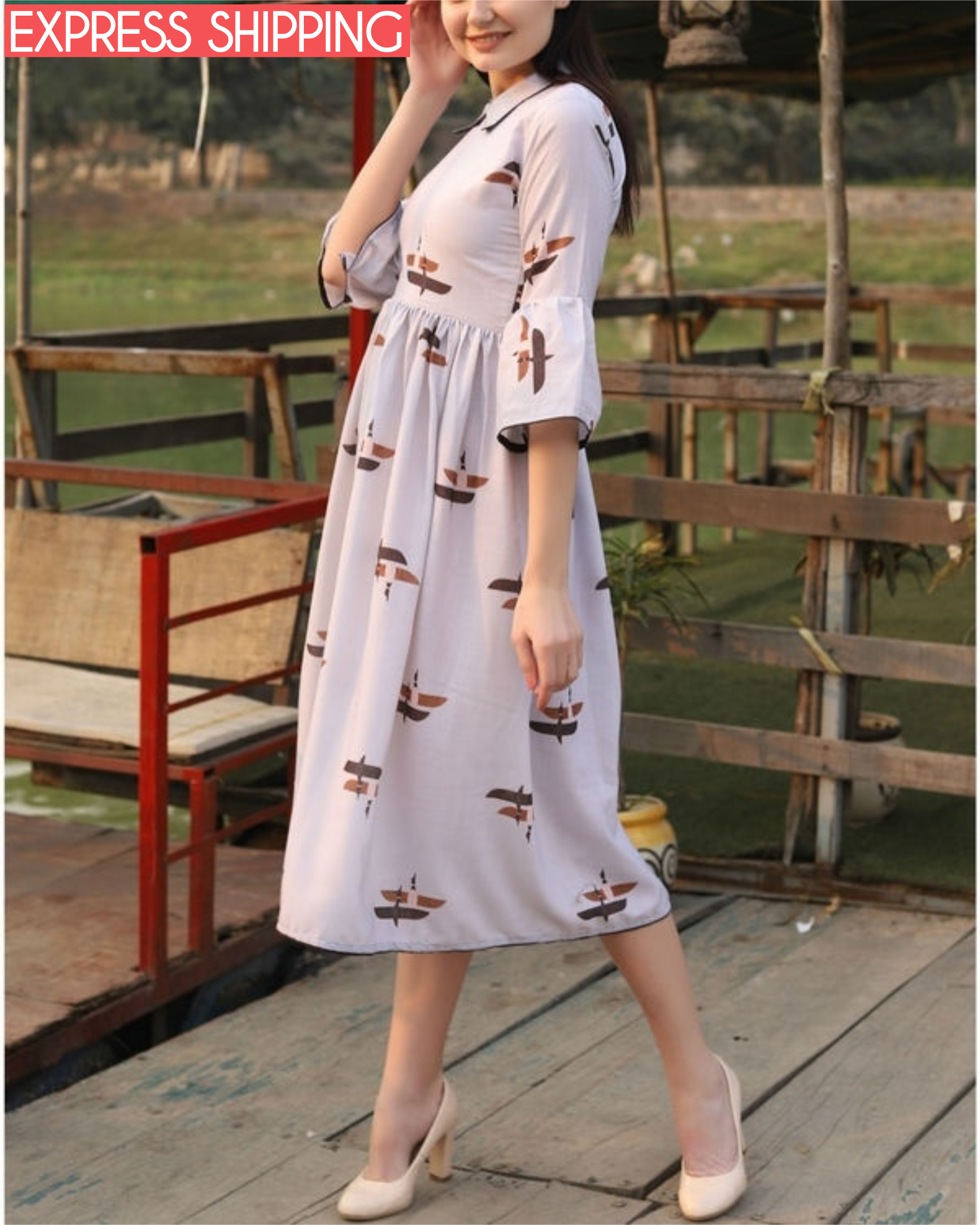 Dull white printed collar dress