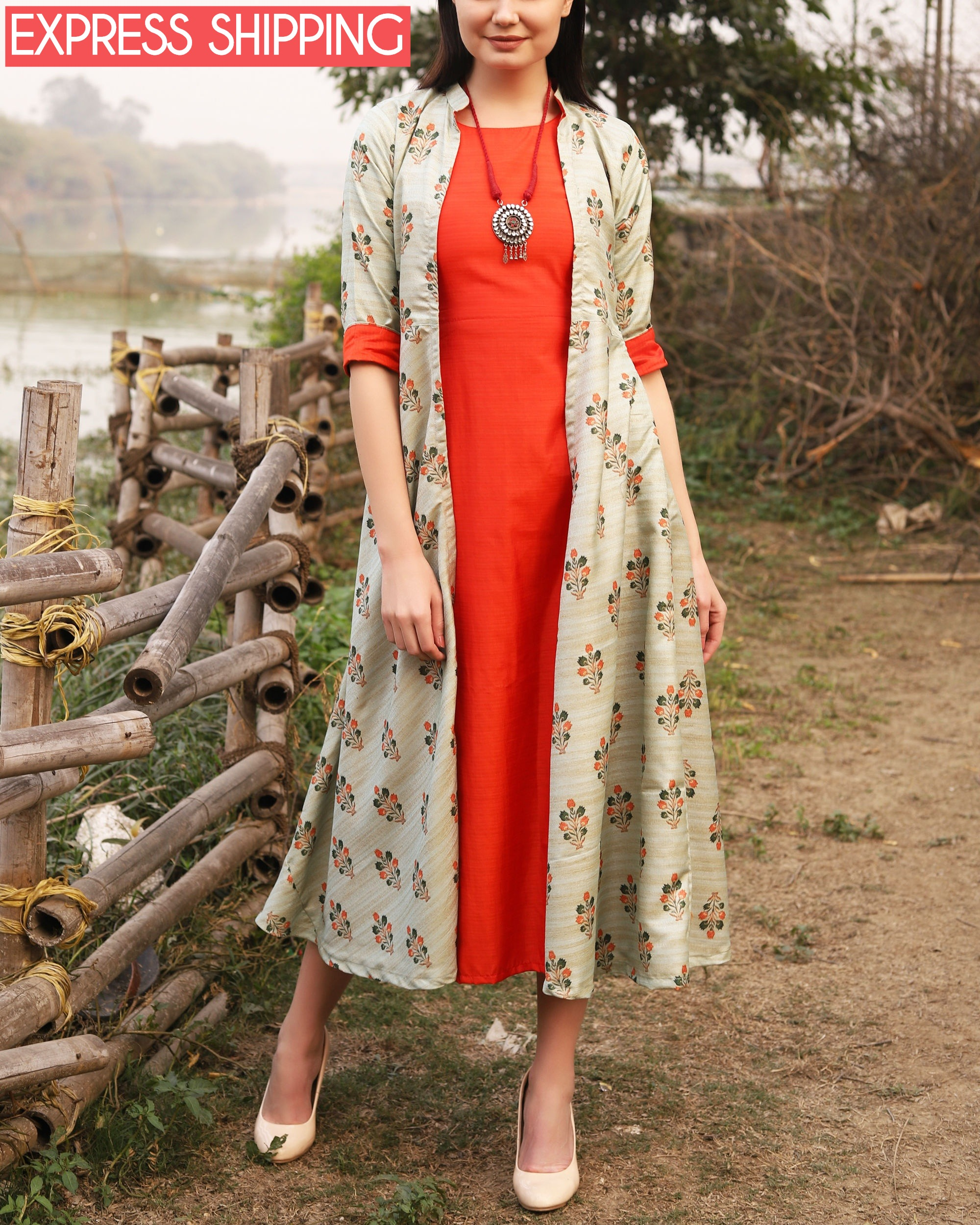 Printed khadi jute jacket dress