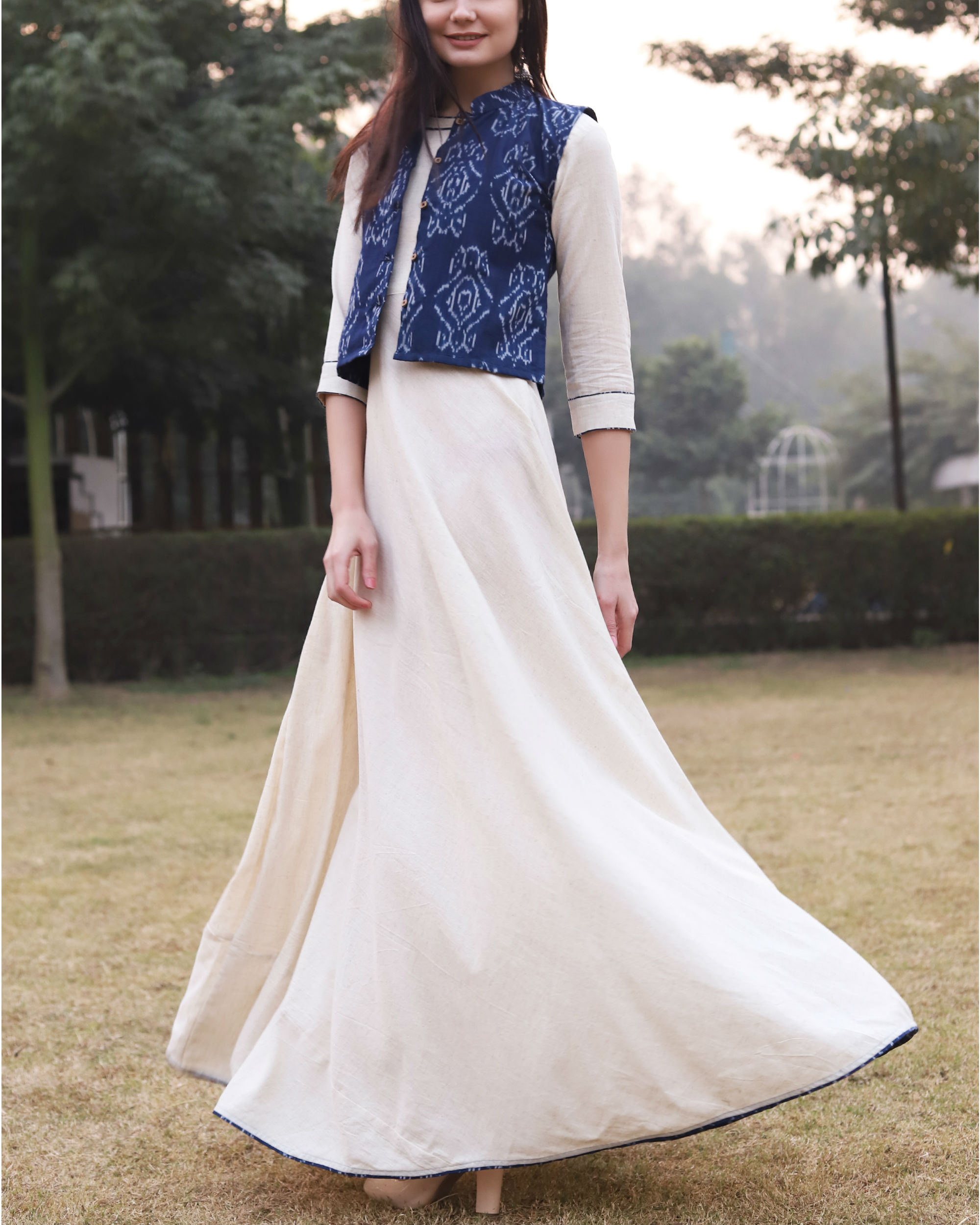 White khadi cotton dress with ikat jacket