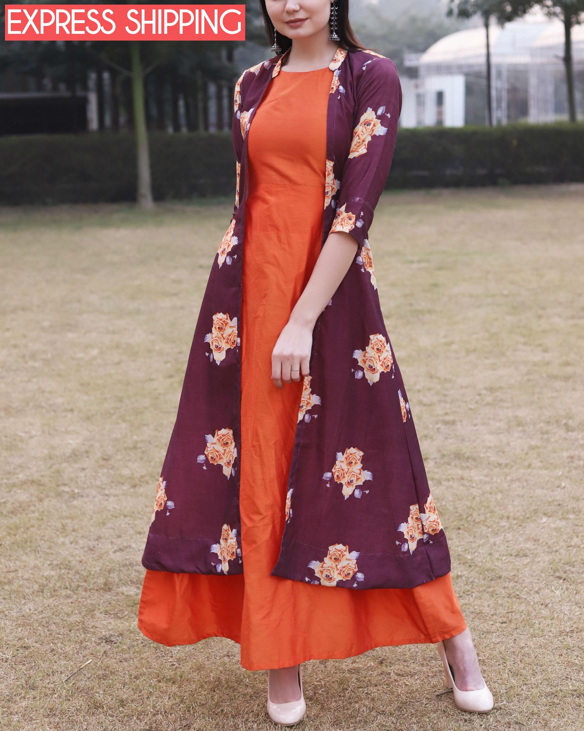 Printed rose jacket dress
