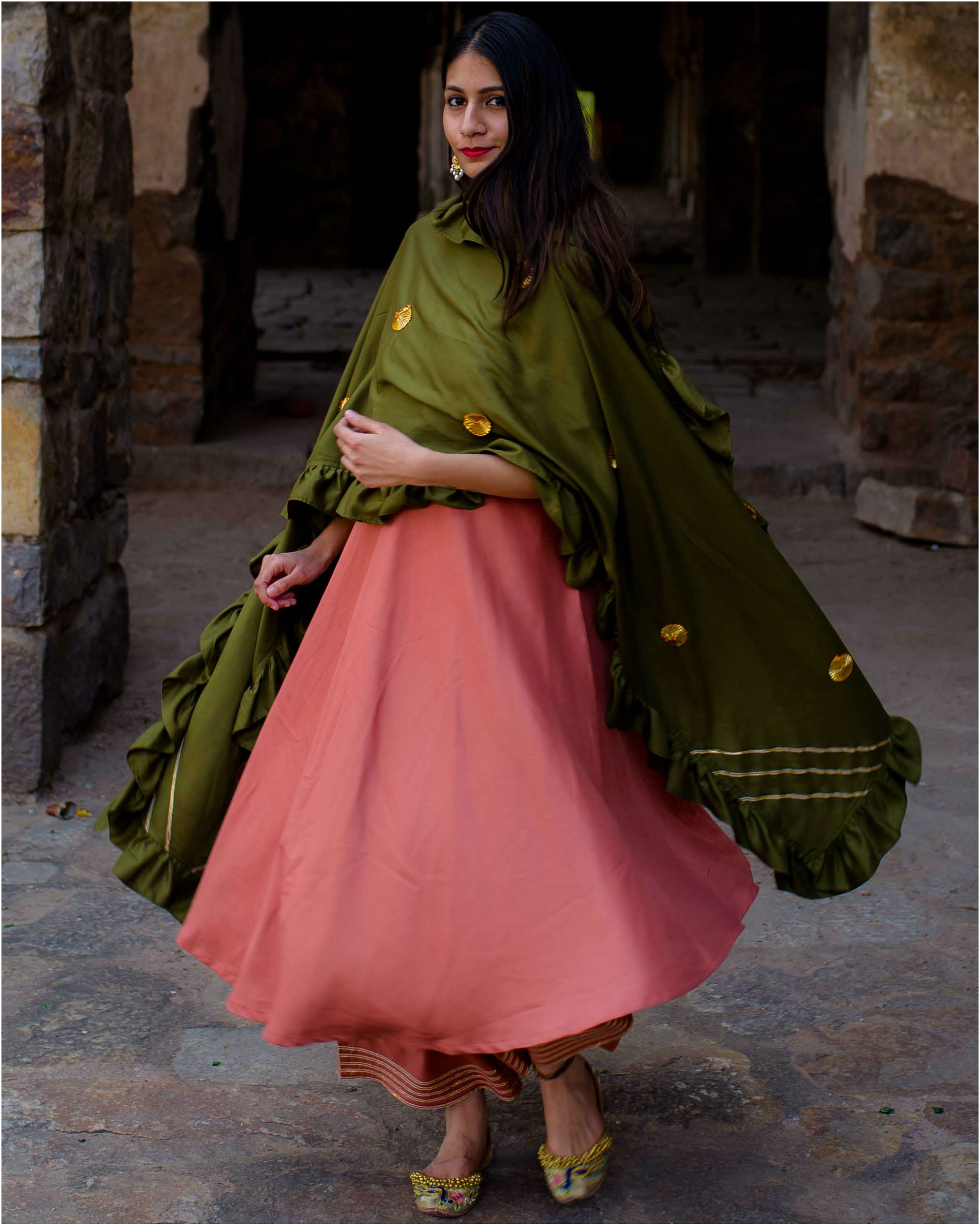 Peach suit set with olive dupatta