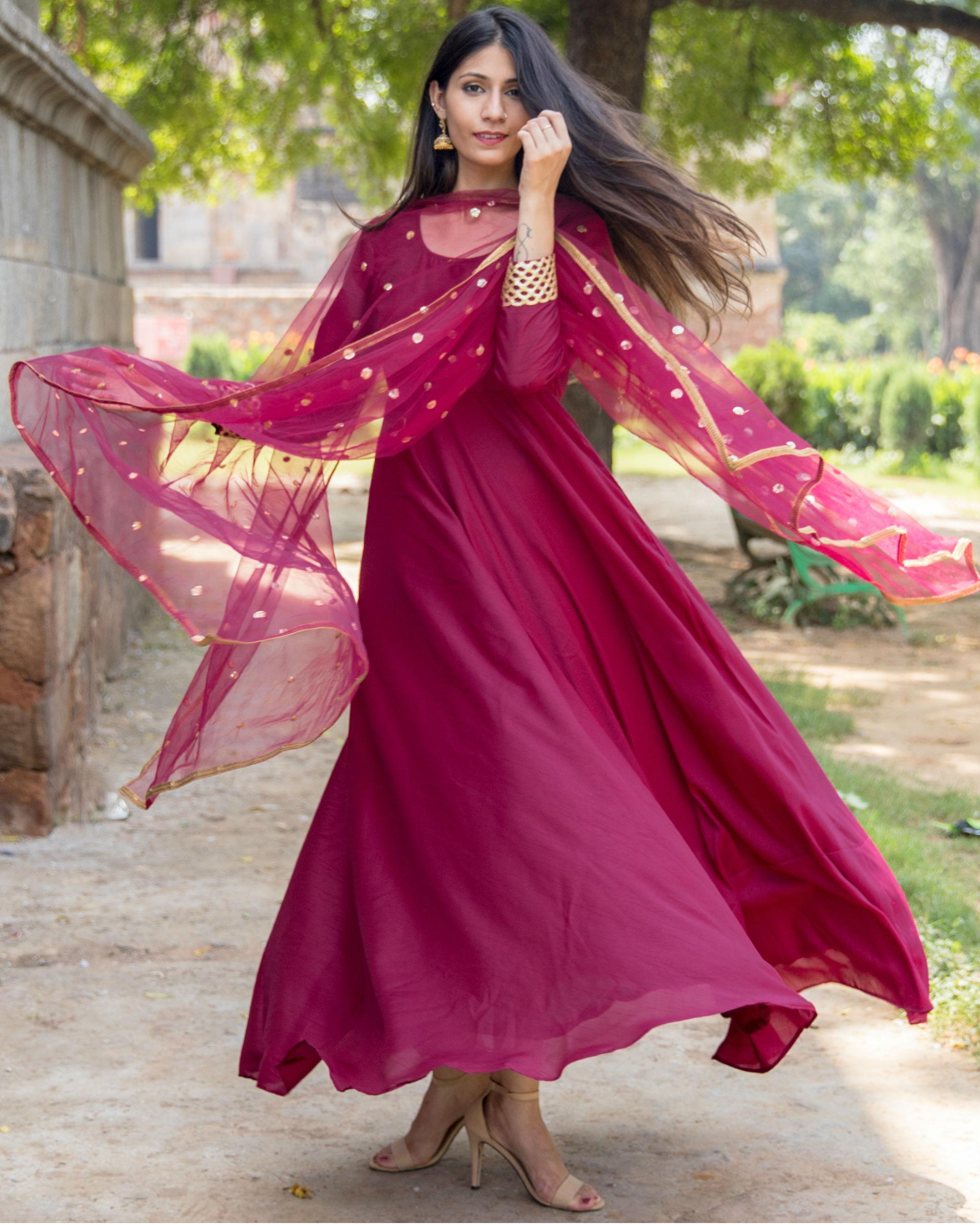 0d34ba26d5 Rose pink golden gota anarkali with dupatta by Empress Pitara | The Secret  Label