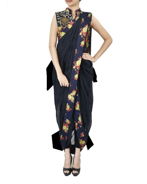 Midnight blue floral pre draped saree