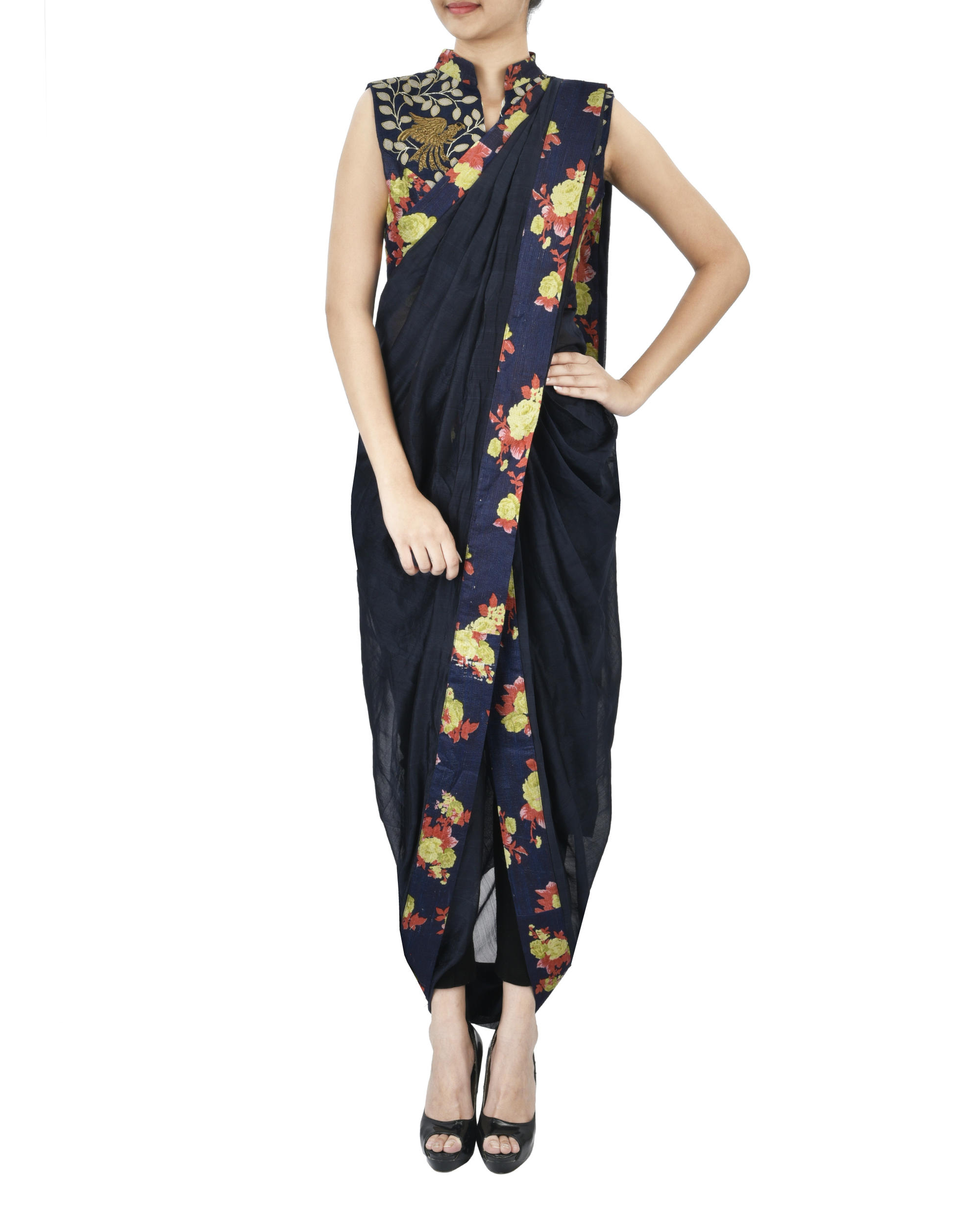 Midnight blue floral pre draped saree