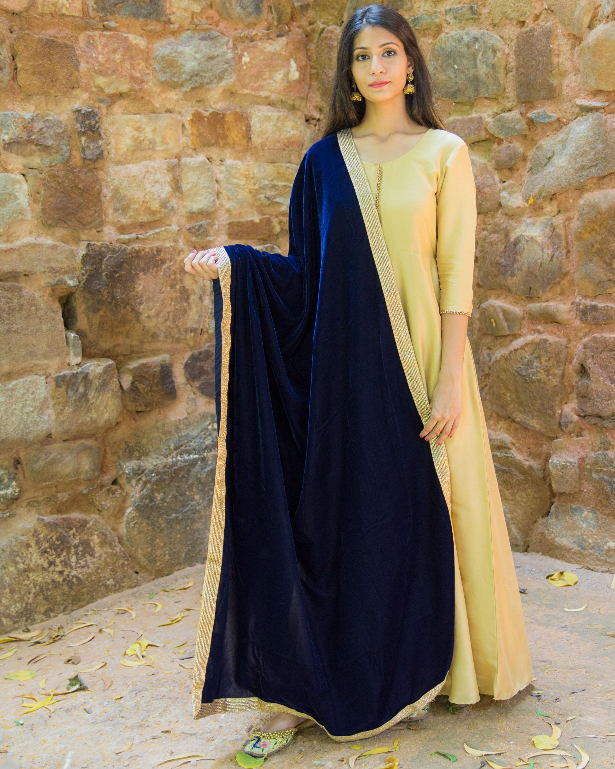 Beige Silk Anarkali With Velvet Dupatta By Empress Pitara The Secret Label