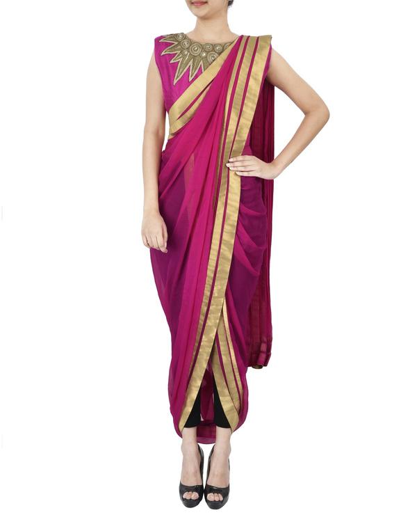 Pink pre draped saree