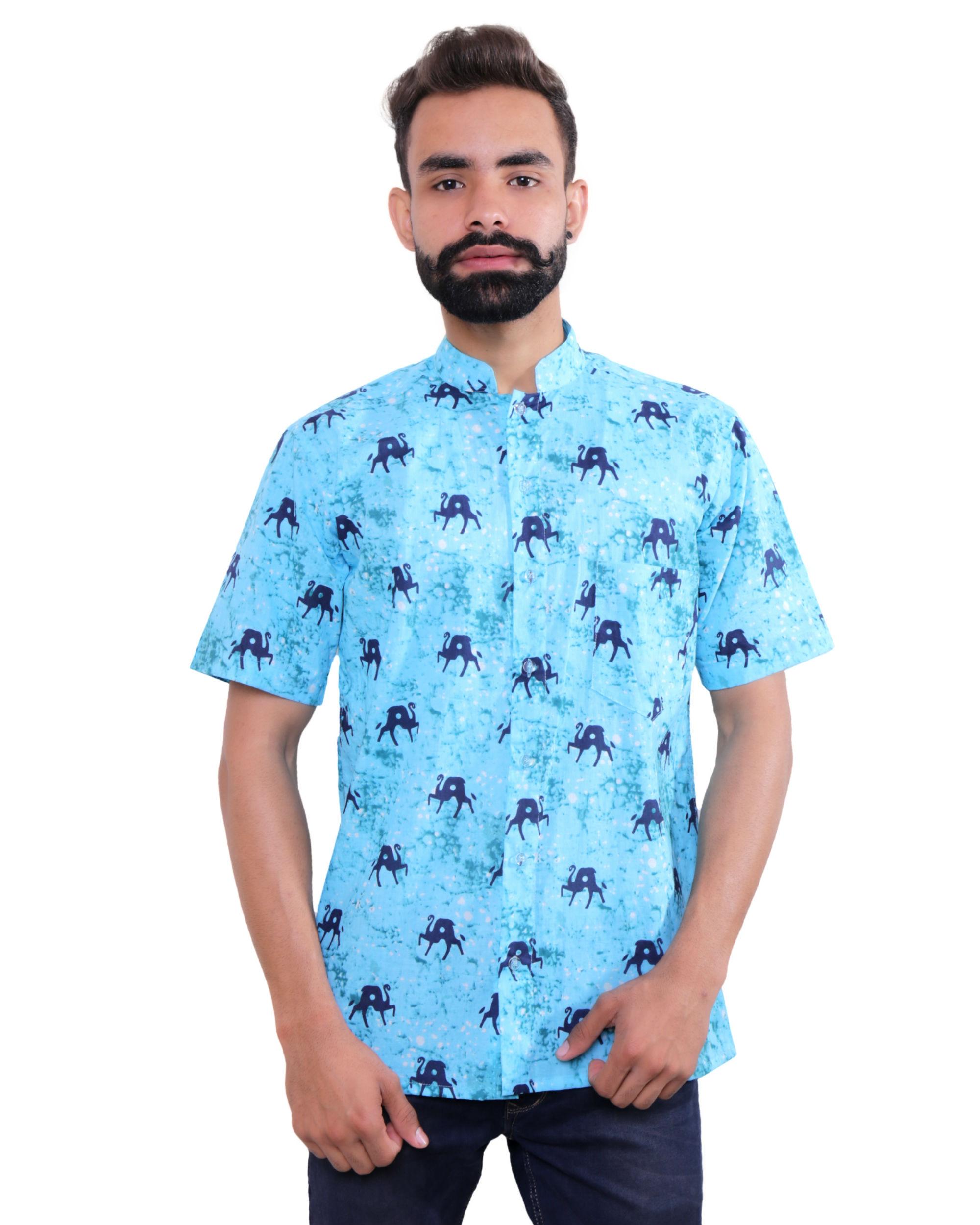 Aqua blue printed cotton shirt
