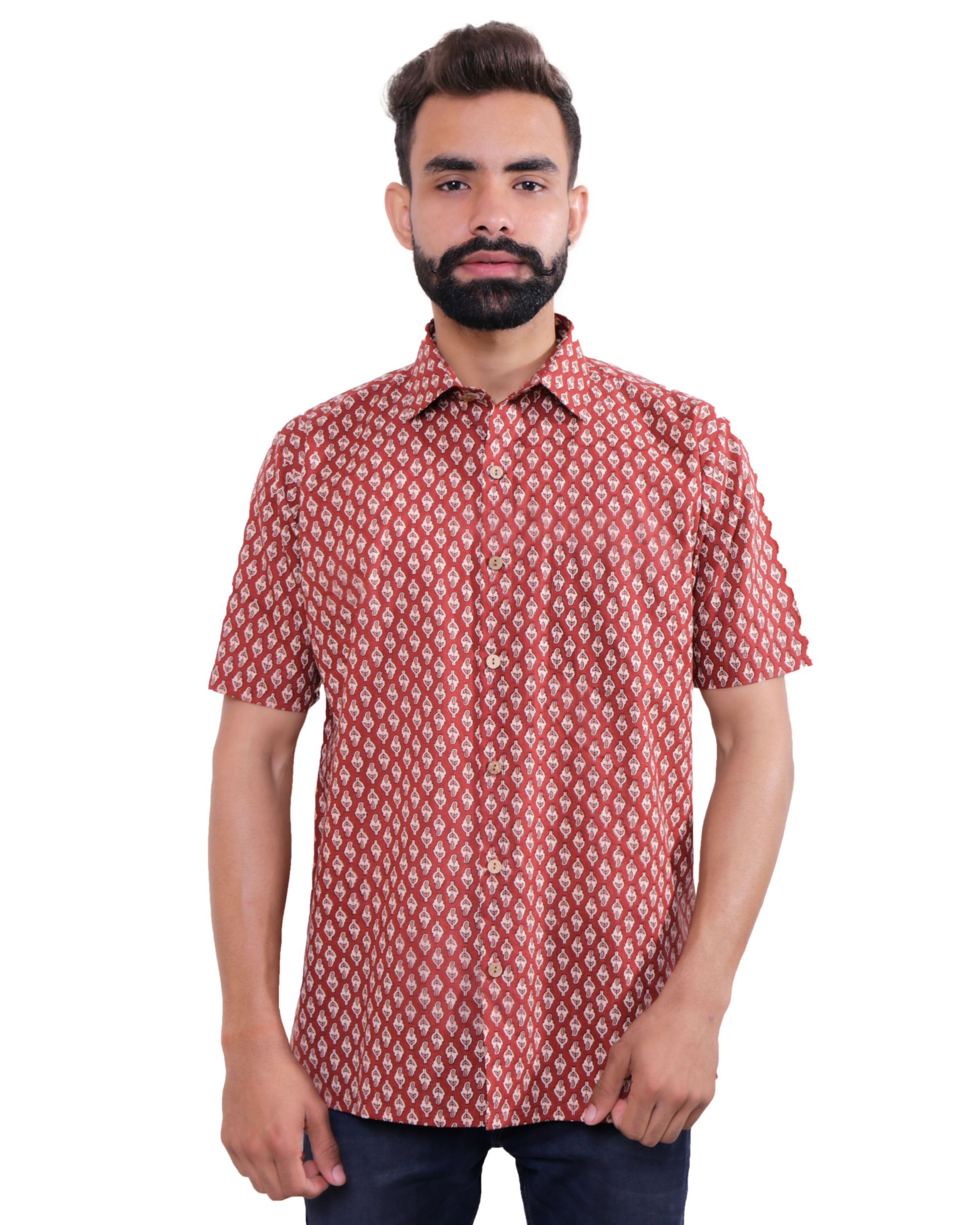 Maroon all-over print shirt