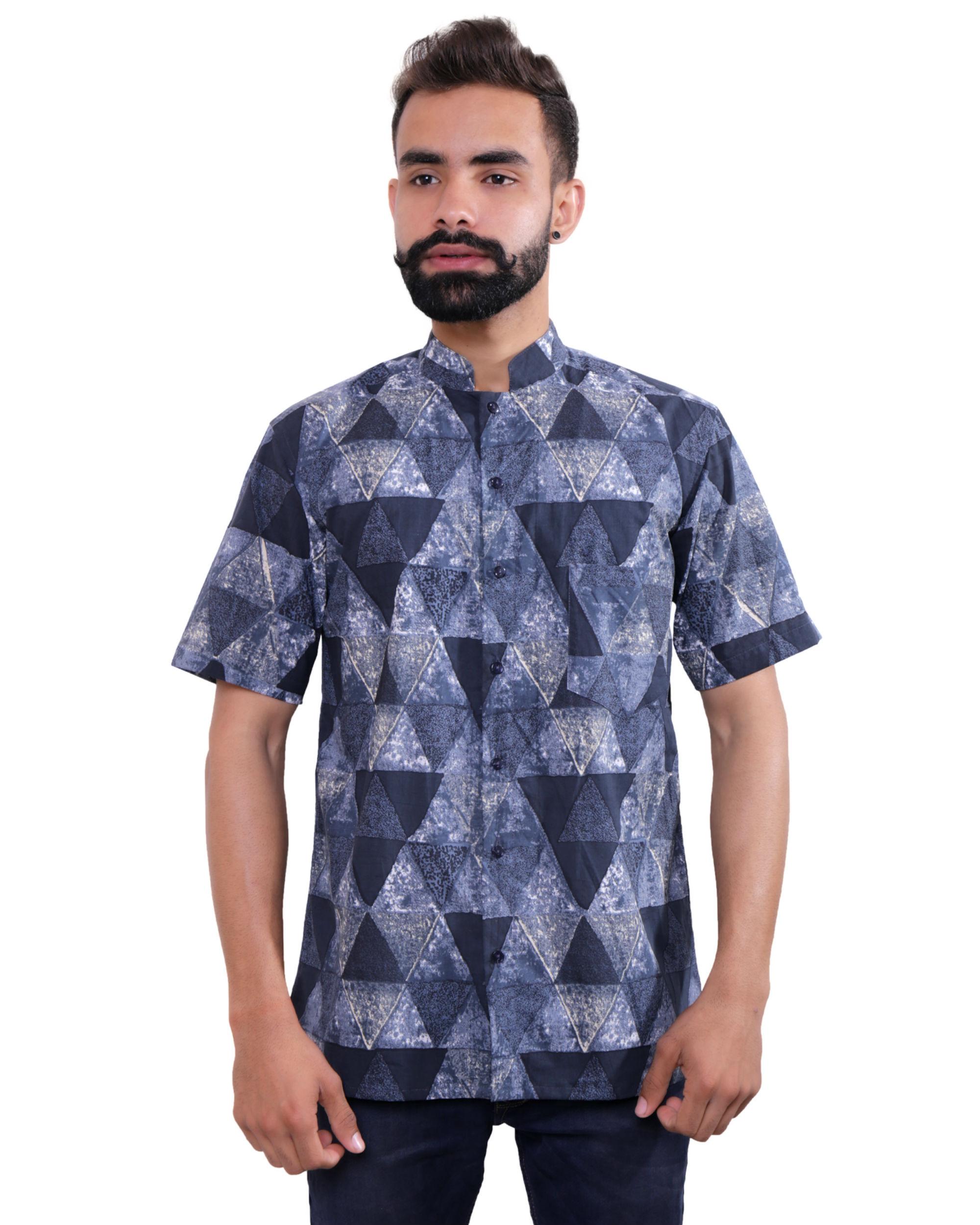 Blue grey triangle shirt