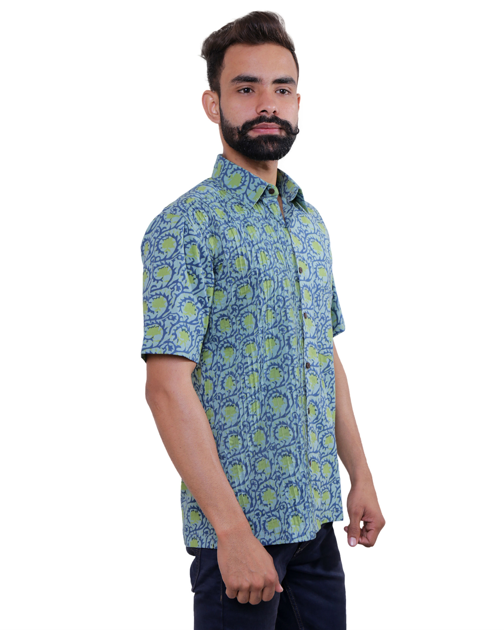 Blue printed tucks shirt