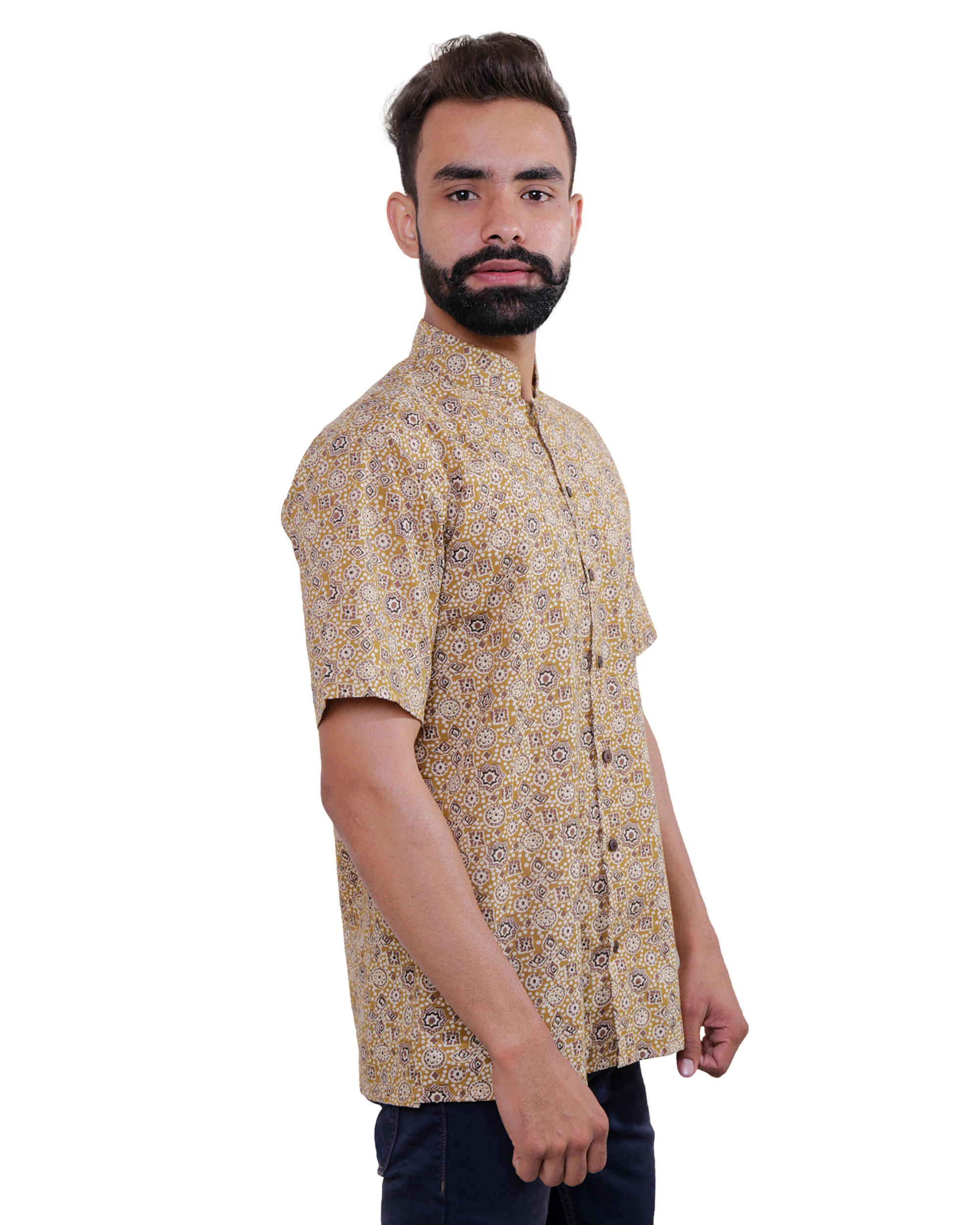 Beige ajrakh print shirt